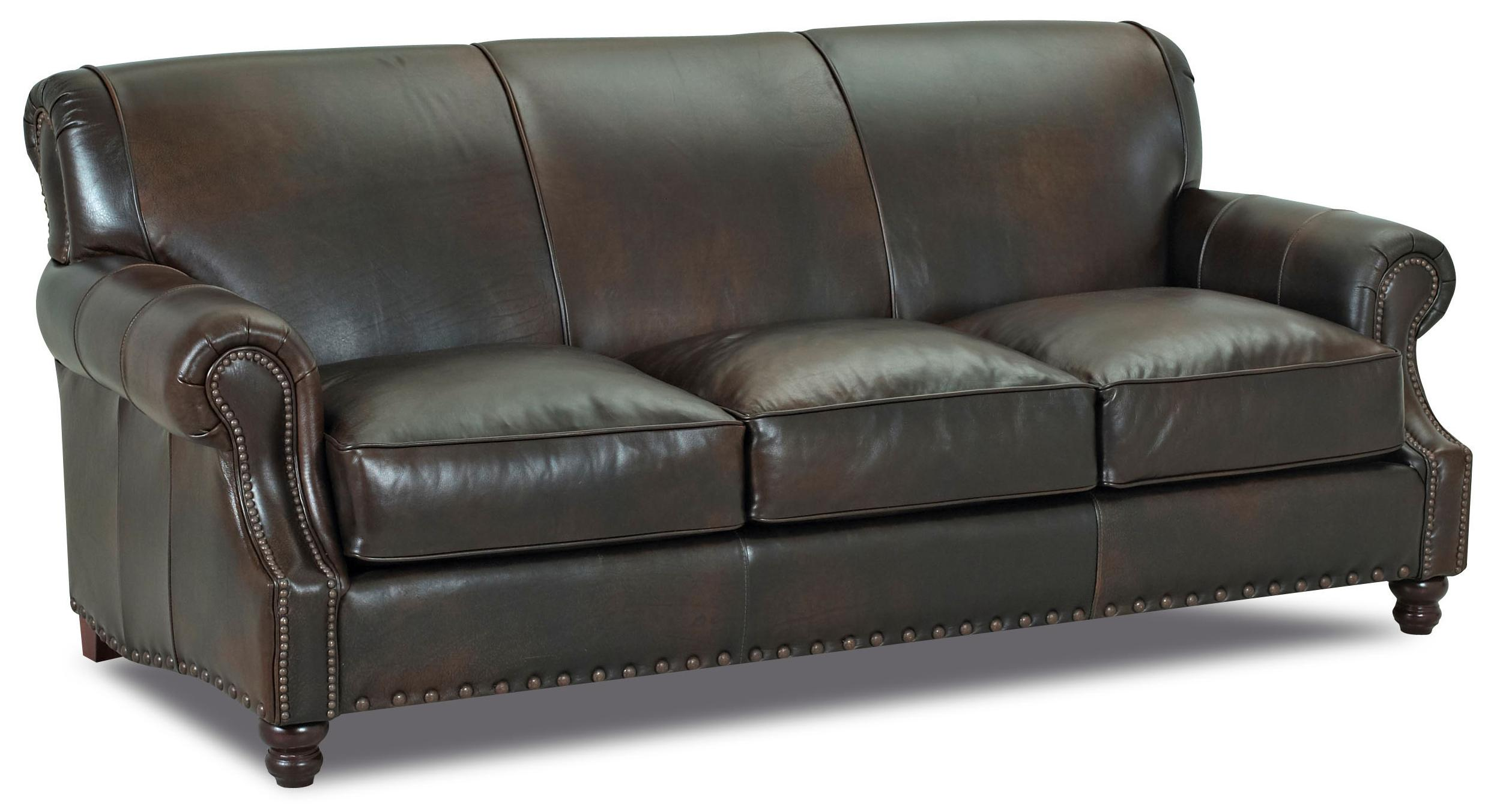 Traditional leather stationary sofa by klaussner wolf for Traditional leather sofa set