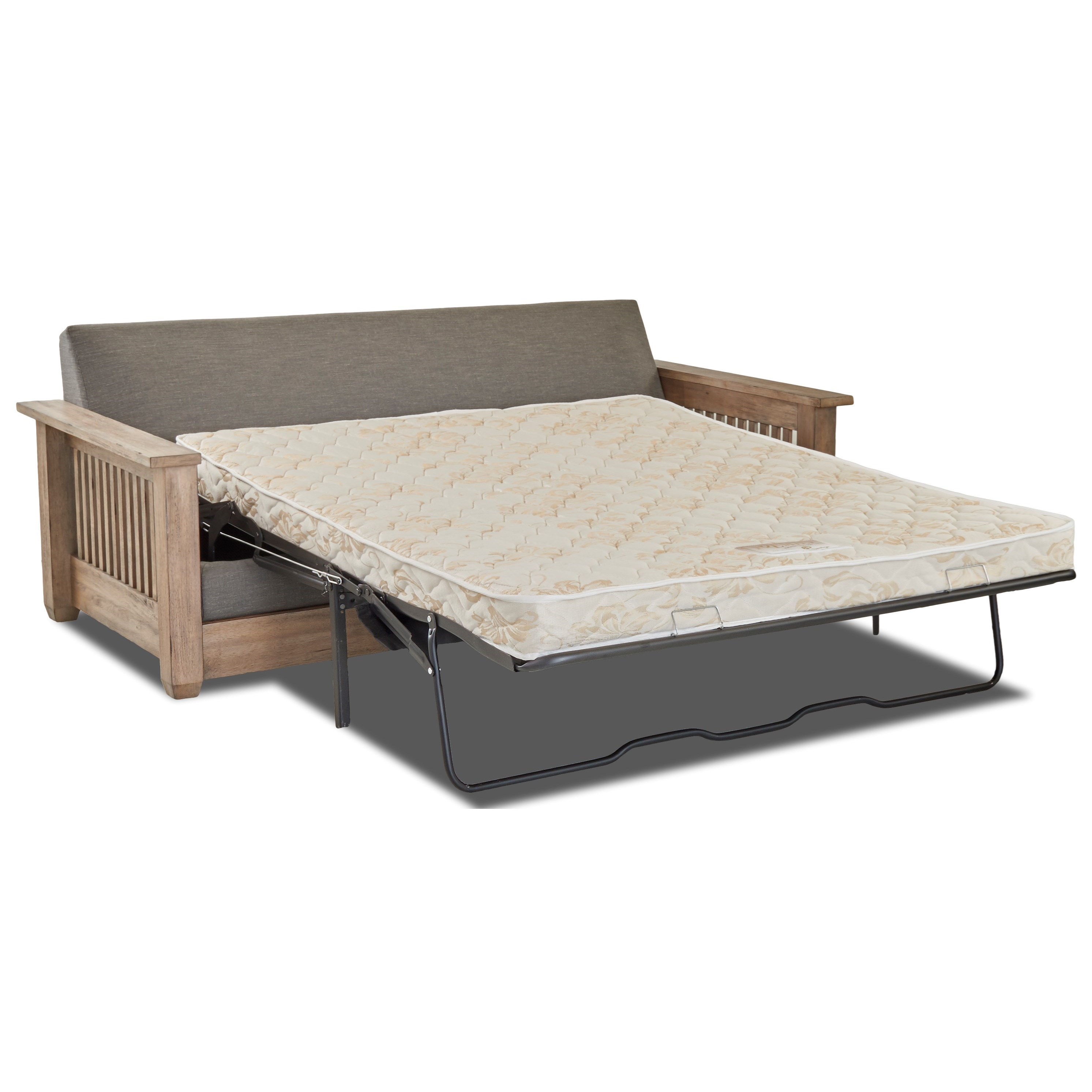air coil mattress queen sleeper sofa with mission style arms by klaussner wolf and gardiner. Black Bedroom Furniture Sets. Home Design Ideas