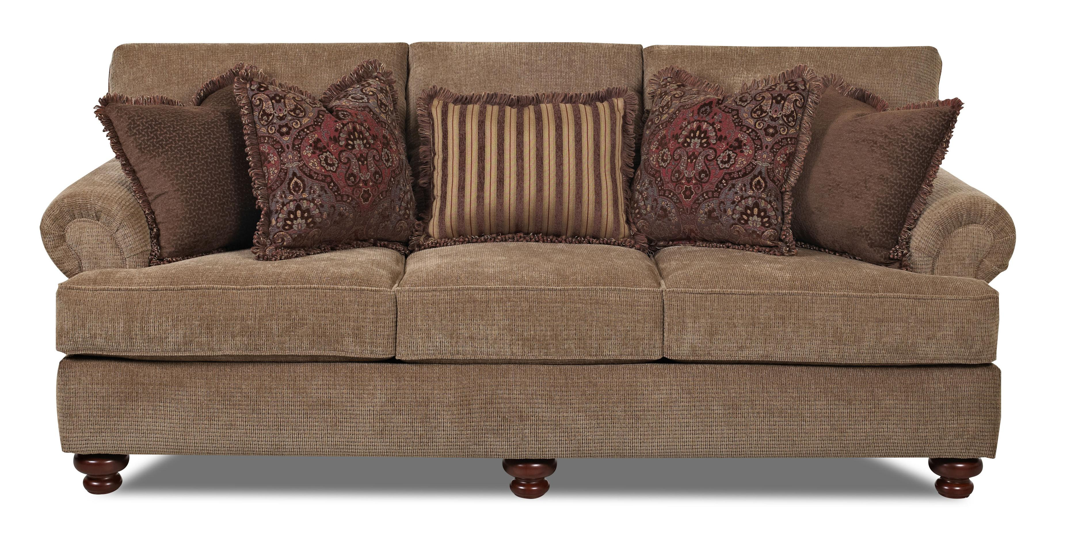Traditional stationary sofa with rolled arms and bun feet for Traditional sofas and loveseats