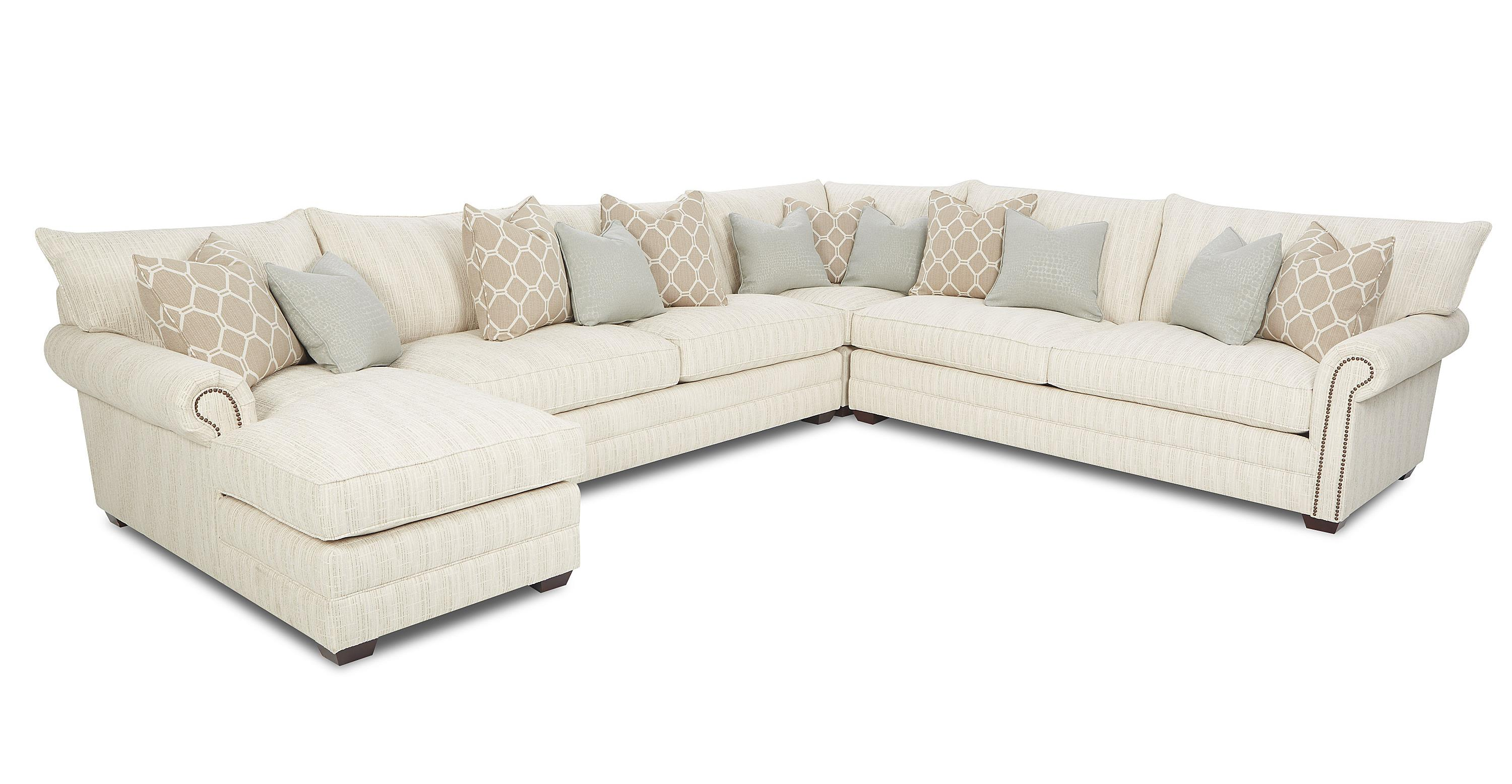 Traditional sectional sofa with nailhead trim and chaise for Traditional sofas and loveseats