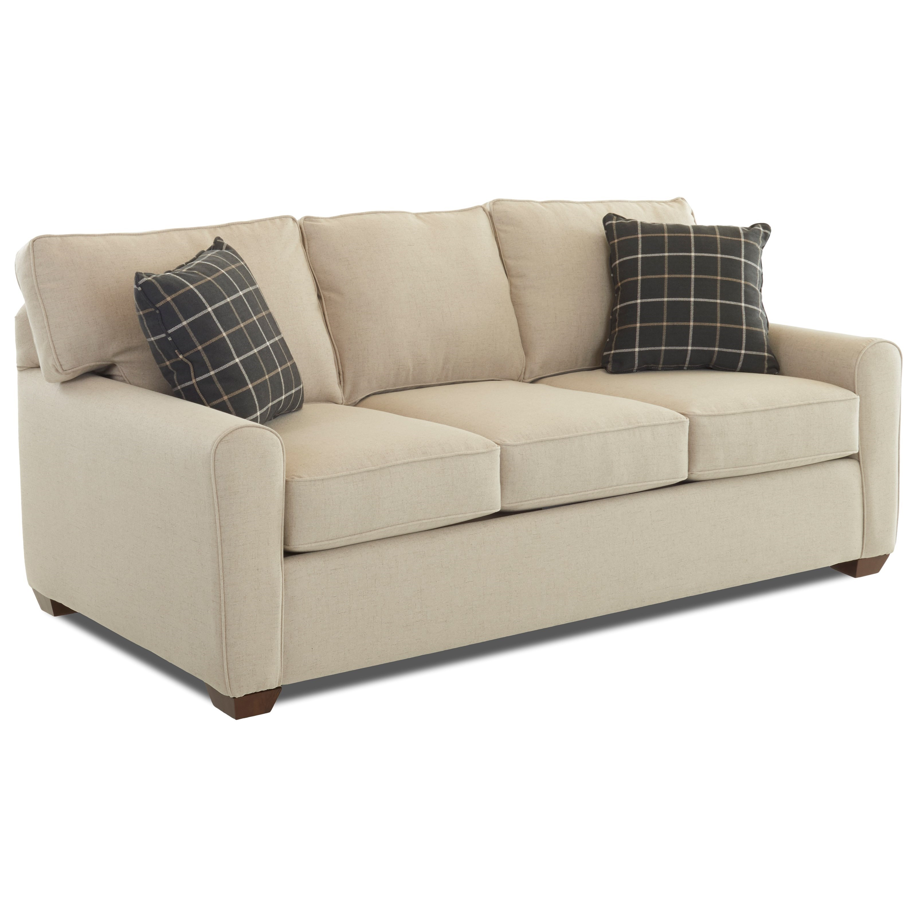 Casual stationary sofa with box seat cushions and welt for Sofawelt outlet