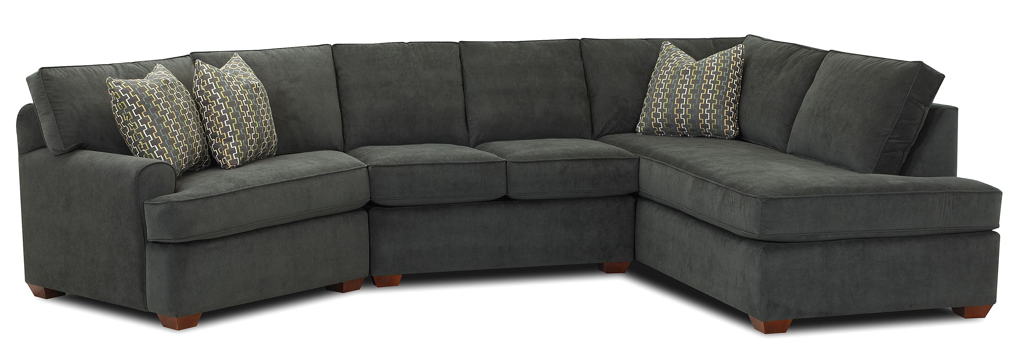 Sectional sofa with right facing sofa chaise by klaussner for Sectional sofa with right side chaise