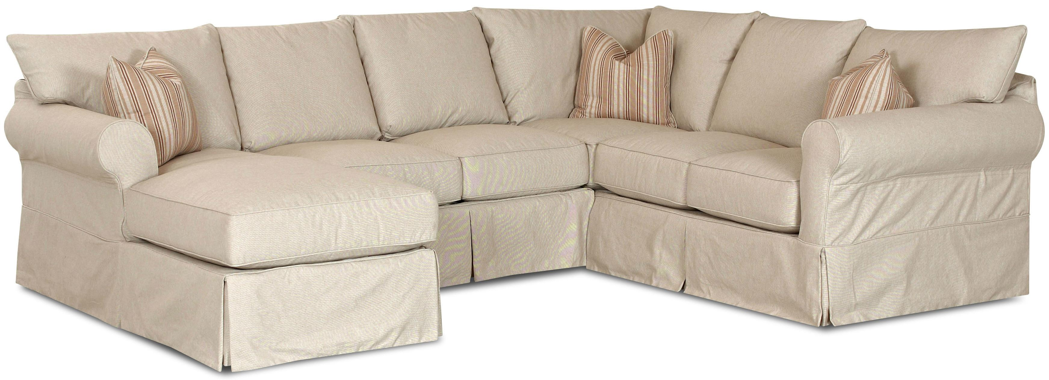 Slip cover sectional sofa with left chaise by klaussner for Furniture 2 u