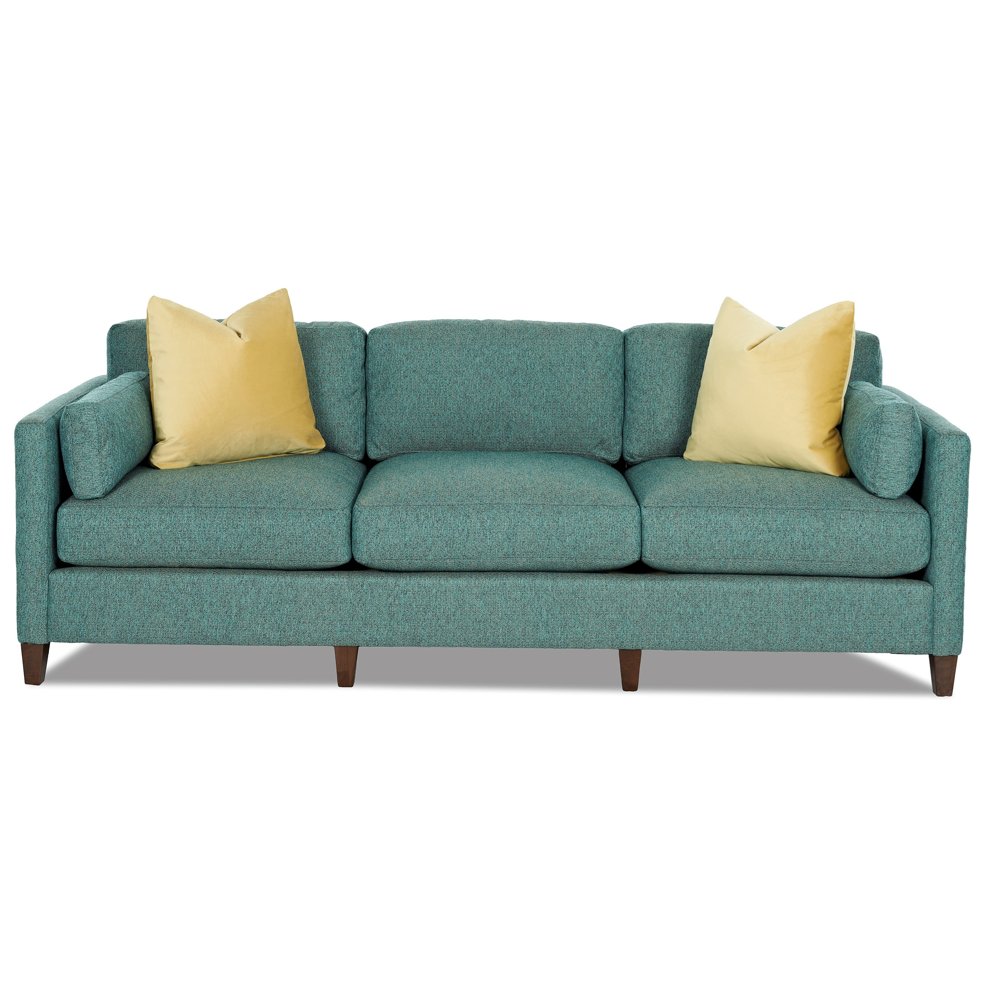 Contemporary tuxedo back sofa with bolster pillows and for Furniture courier