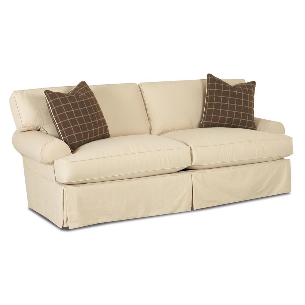 Sofa with slipcover and blend down cushions by klaussner for Sectional sofa down cushions