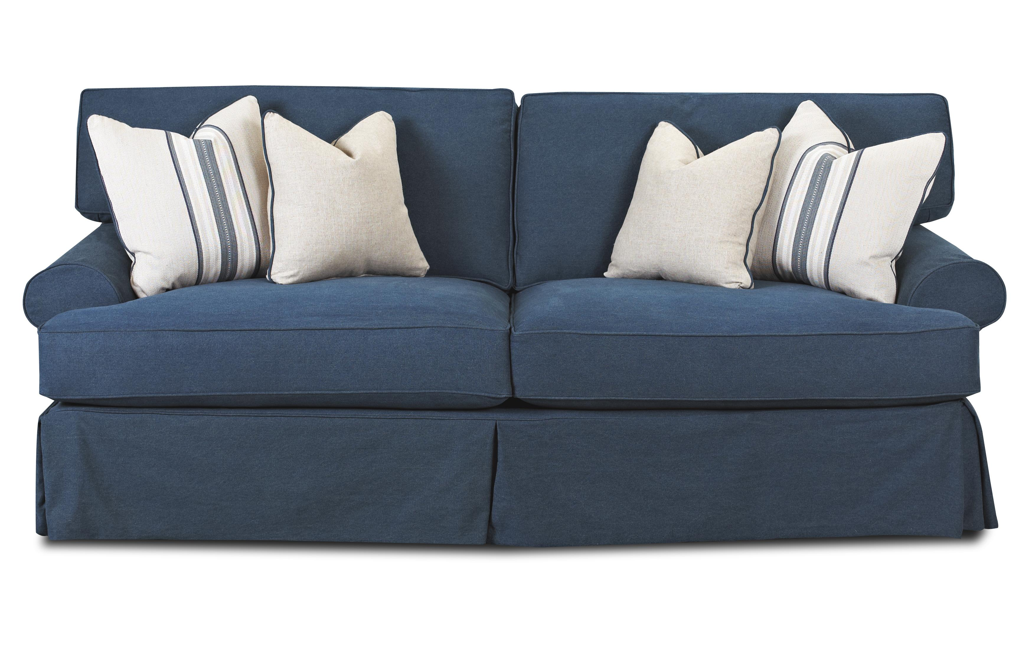 sofa with blend down cushions by klaussner wolf and. Black Bedroom Furniture Sets. Home Design Ideas