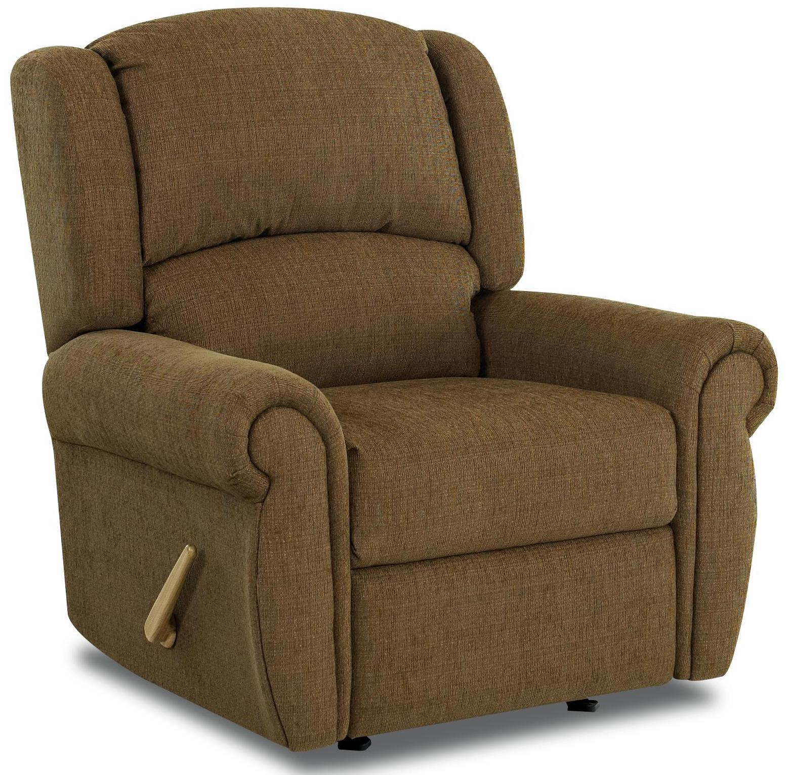 Traditional Glider Recliner With Winged Pub Back And Rolled Arms By Klaussner