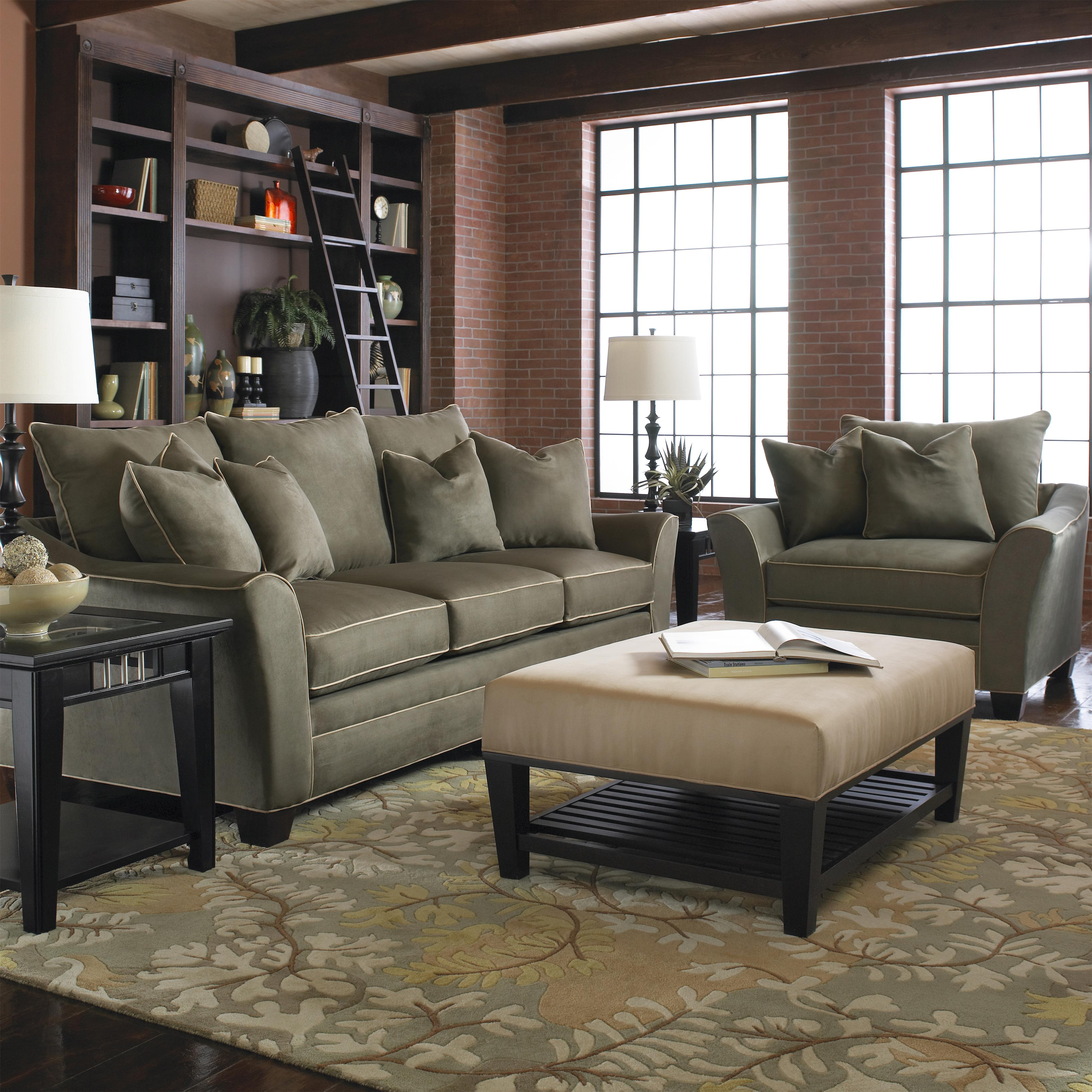 contemporary sofa with block feet by klaussner wolf and gardiner wolf furniture. Black Bedroom Furniture Sets. Home Design Ideas