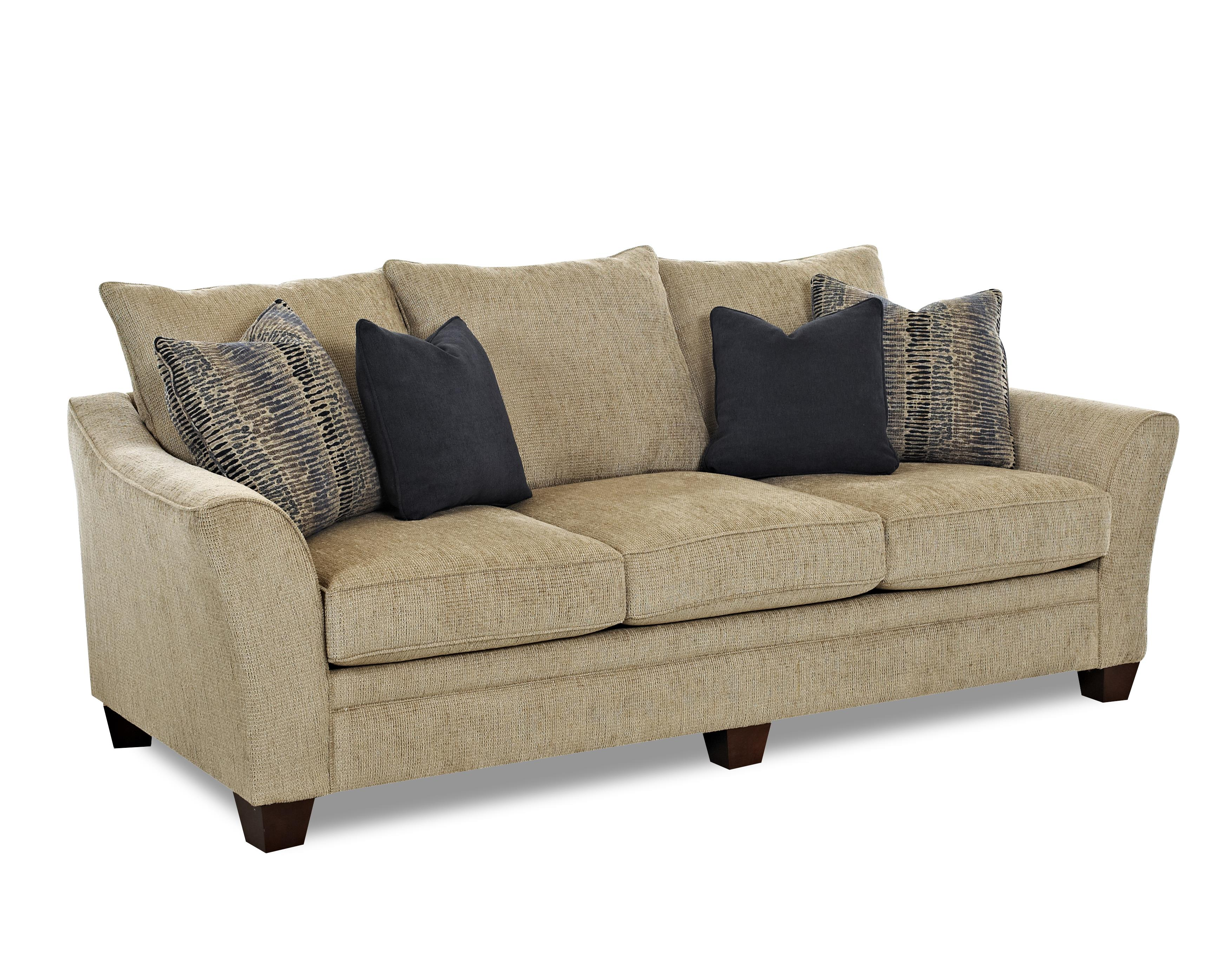 Contemporary sofa with block feet by klaussner wolf and for Klaussner sofa