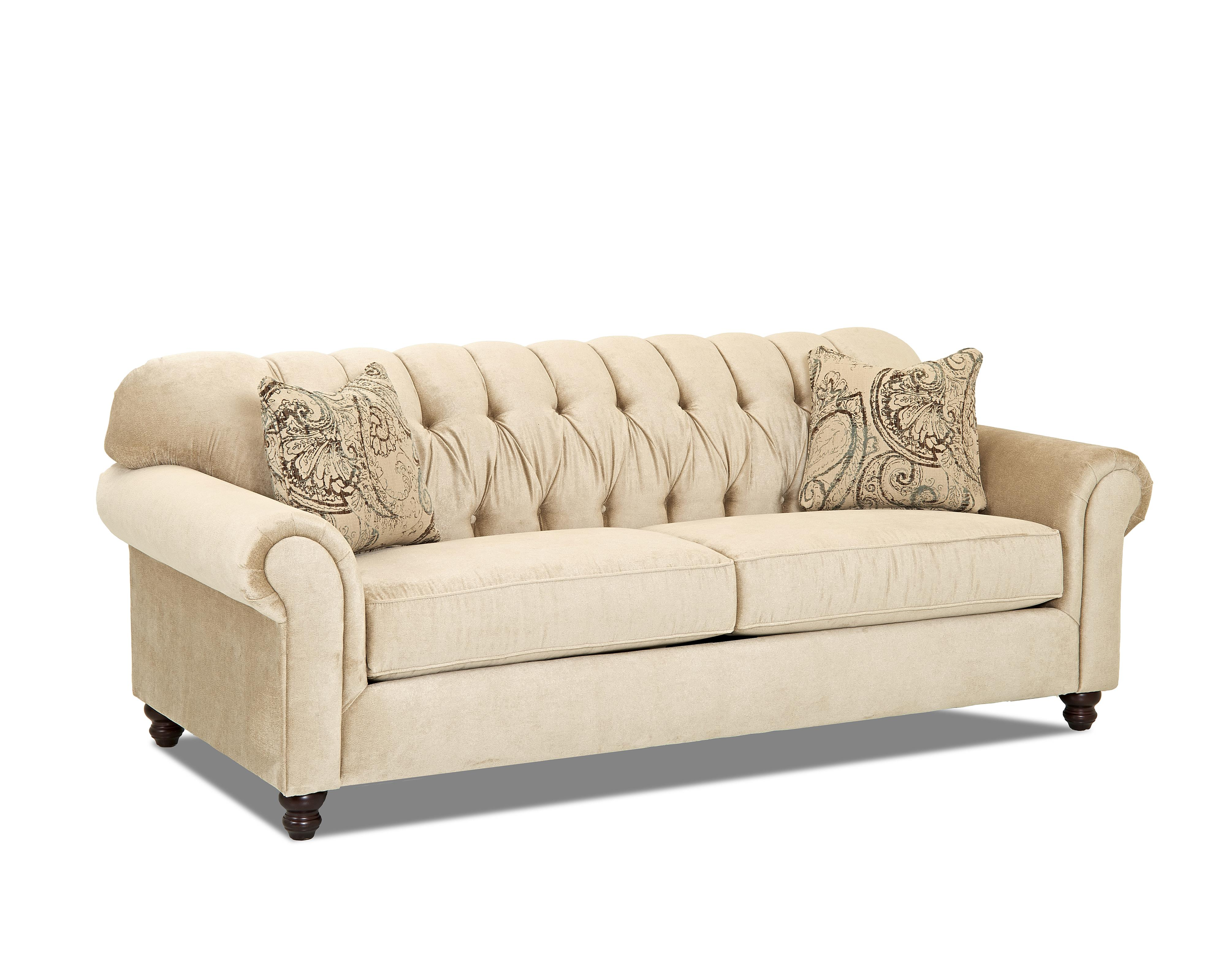 Traditional sofa with tufted back by klaussner wolf and for Traditional sectional