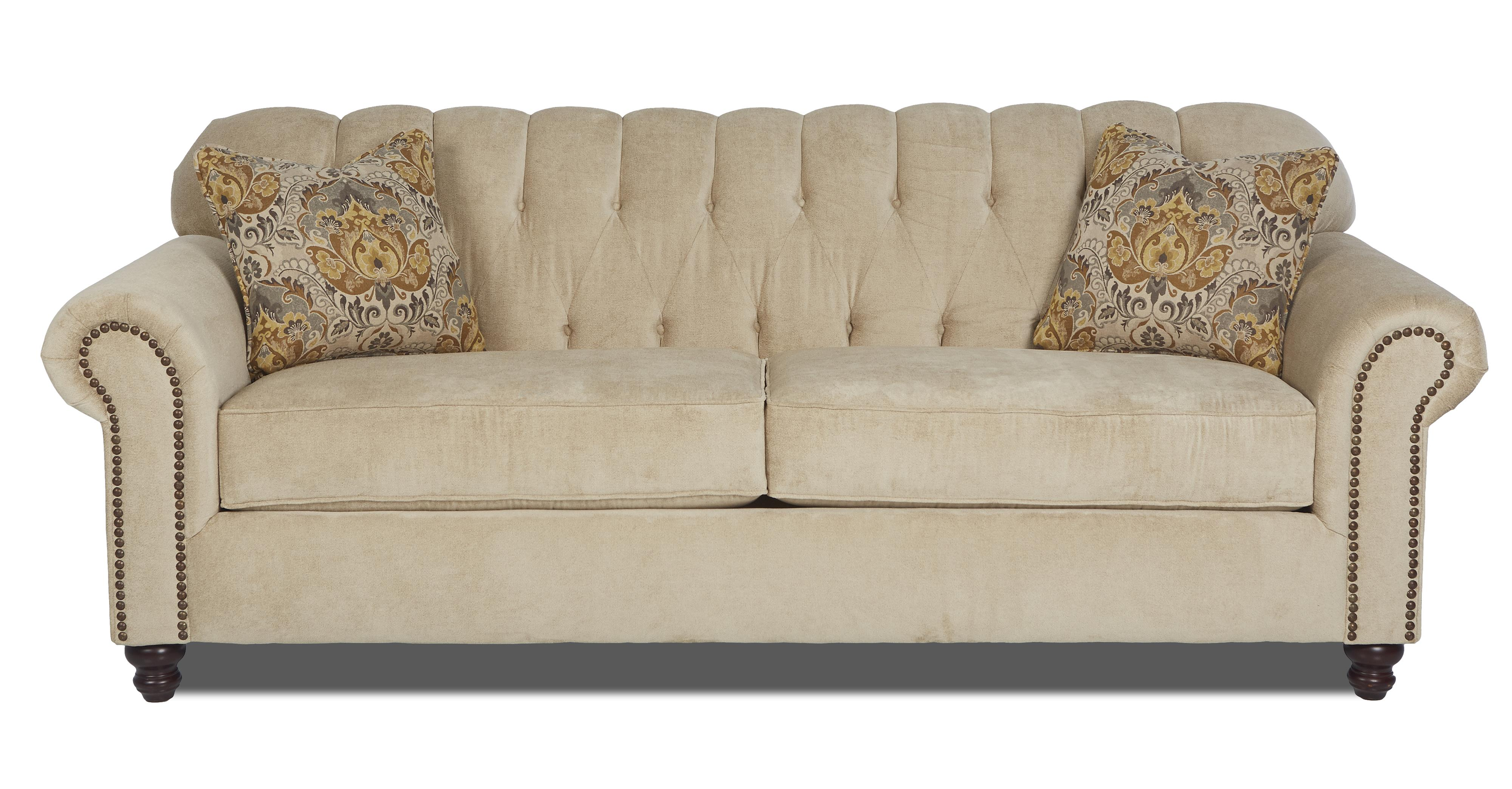 Traditional stationary sofa with rolled arms and nailhead for Traditional sofas and loveseats