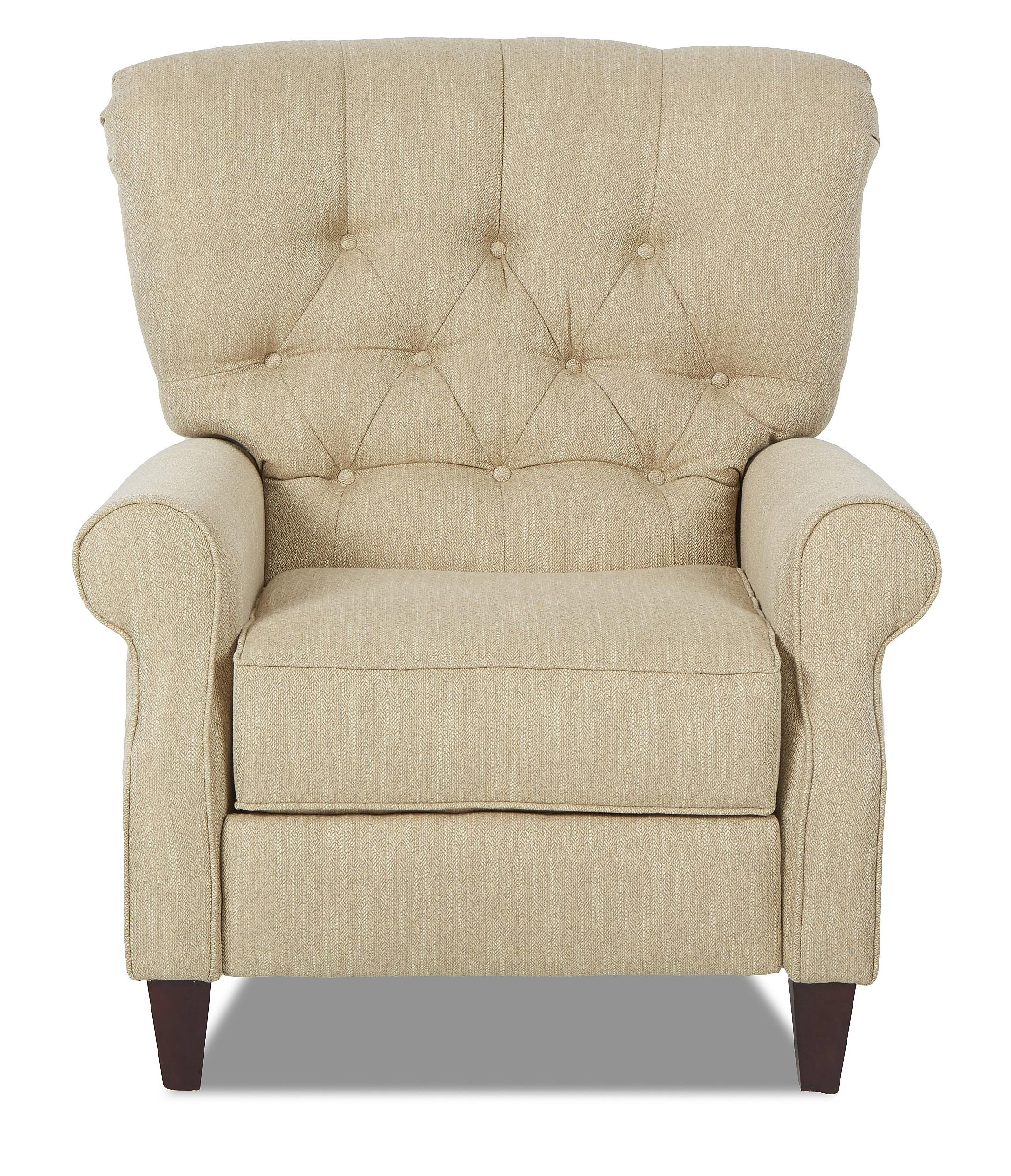 Traditional high leg recliner with tufted back by for Traditional sofas with legs