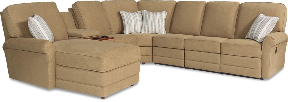 Six piece power reclining sectional sofa with laf chaise for Power reclining sectional sofa with chaise