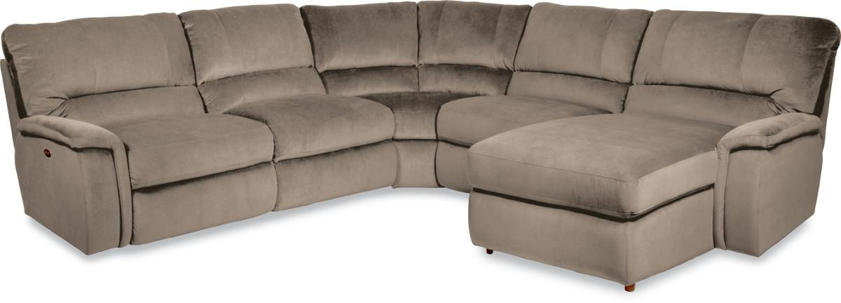 Five piece power reclining sectional sofa with las for Power reclining sectional sofa with chaise