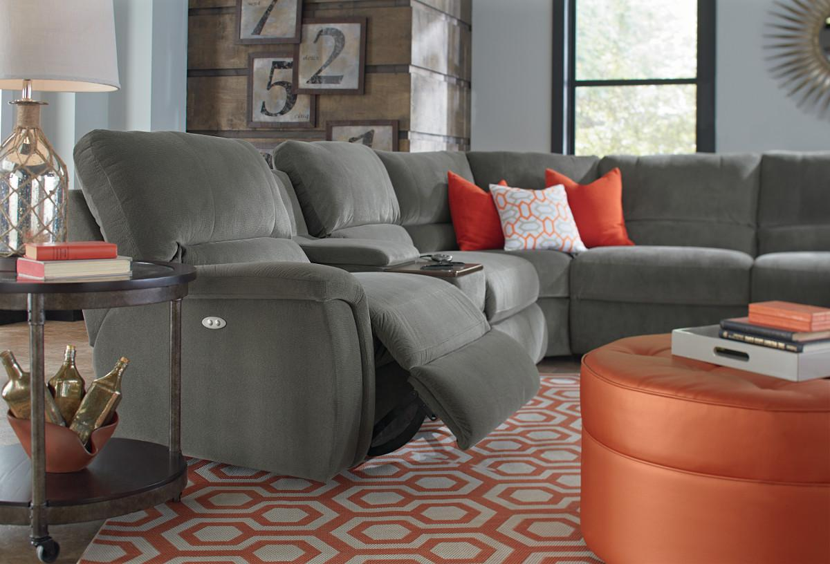Seven Piece Power Reclining Sectional Sofa With Cupholders