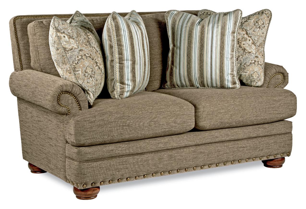 Traditional loveseat with comfort core cushions and two for Traditional loveseat