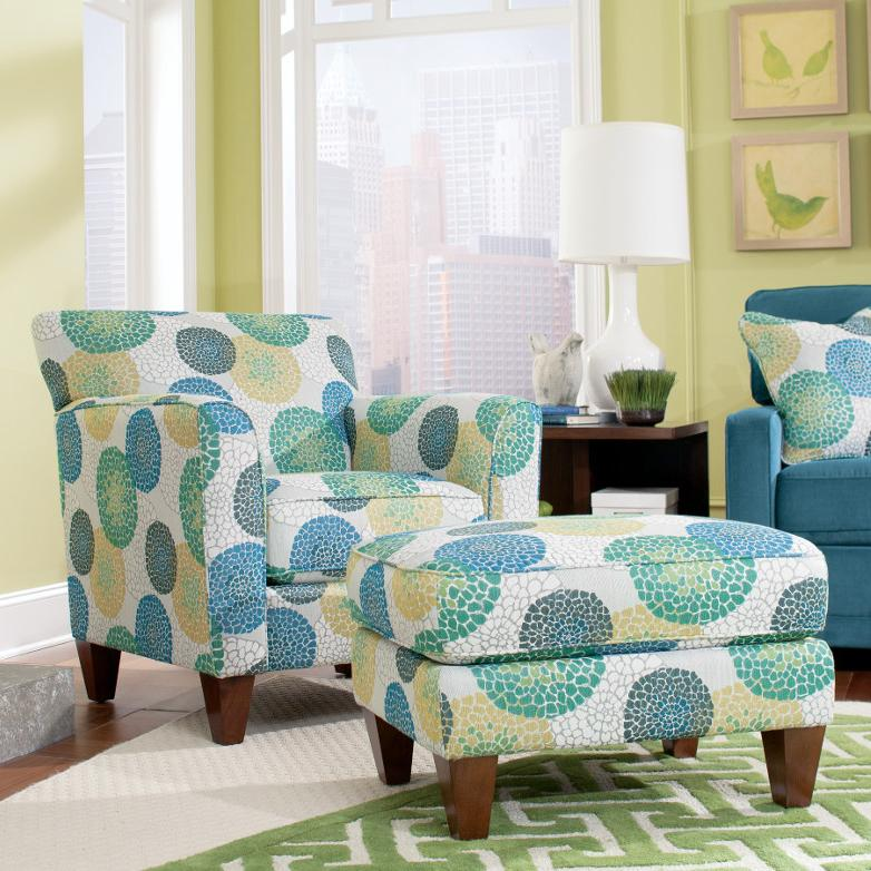 Allegra chair ottoman set by la z boy wolf and for Colorful living room furniture sets