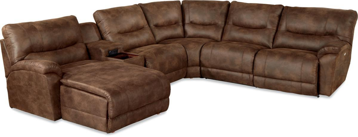 Casual six piece reclining sectional sofa with las chaise for Lazy boy sectional sofa with chaise