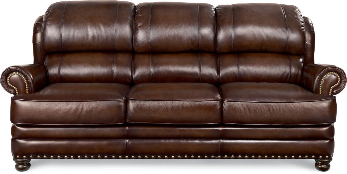 Traditional leather sofa with turned arms and nail head for Traditional leather sectional sofa
