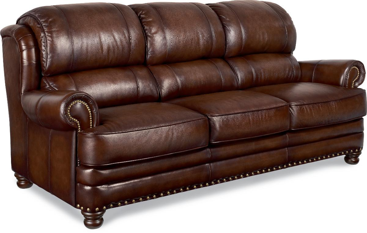 Traditional leather sofa with turned arms and nail head for Traditional leather sofas furniture