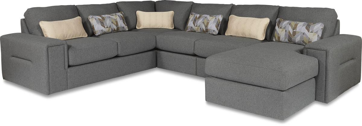 Five piece modern sectional sofa with architectural lines for 5 piece sectional sofa with chaise