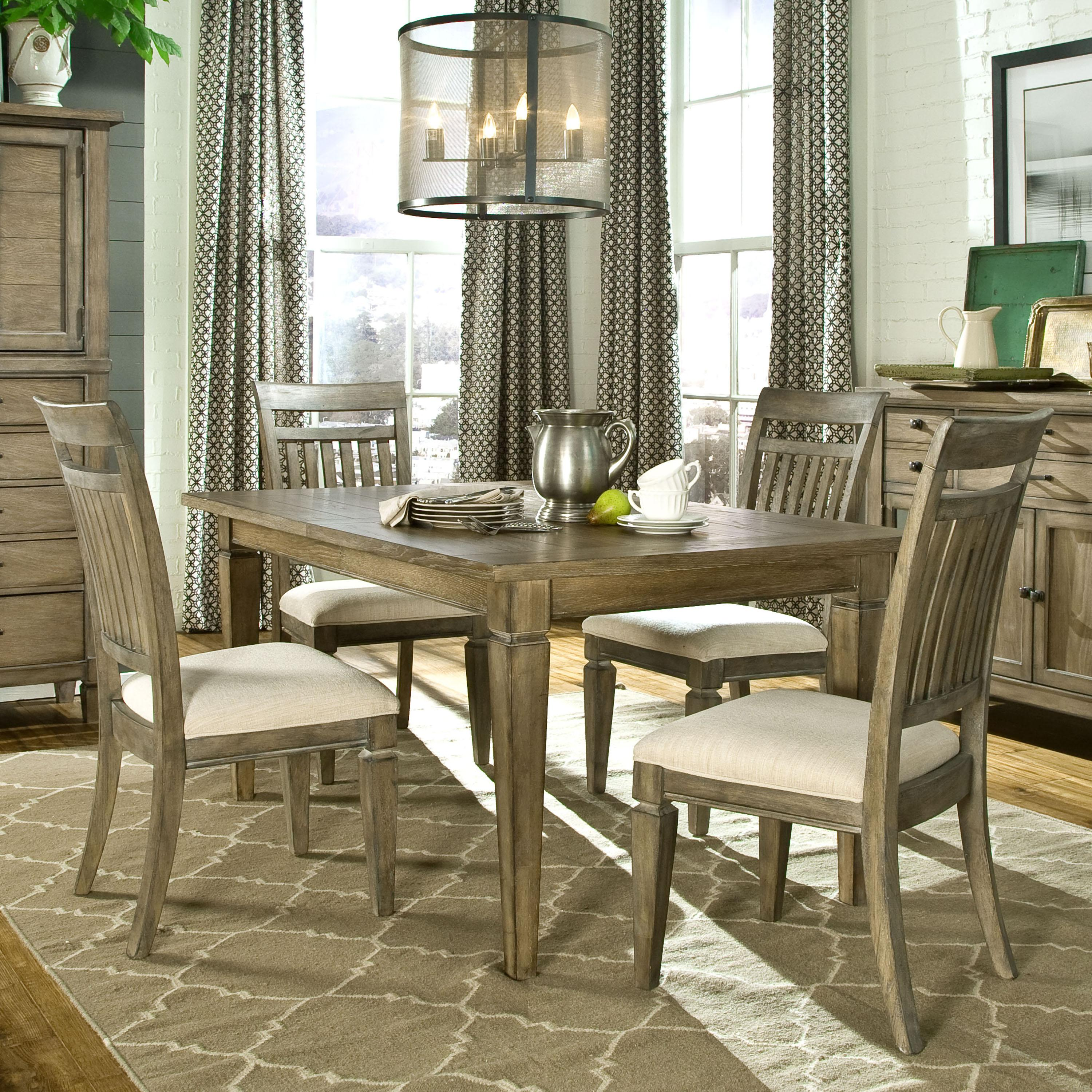 5 Piece Dining Set With Leg Table And Slat Back Side Chairs By Legacy Classic