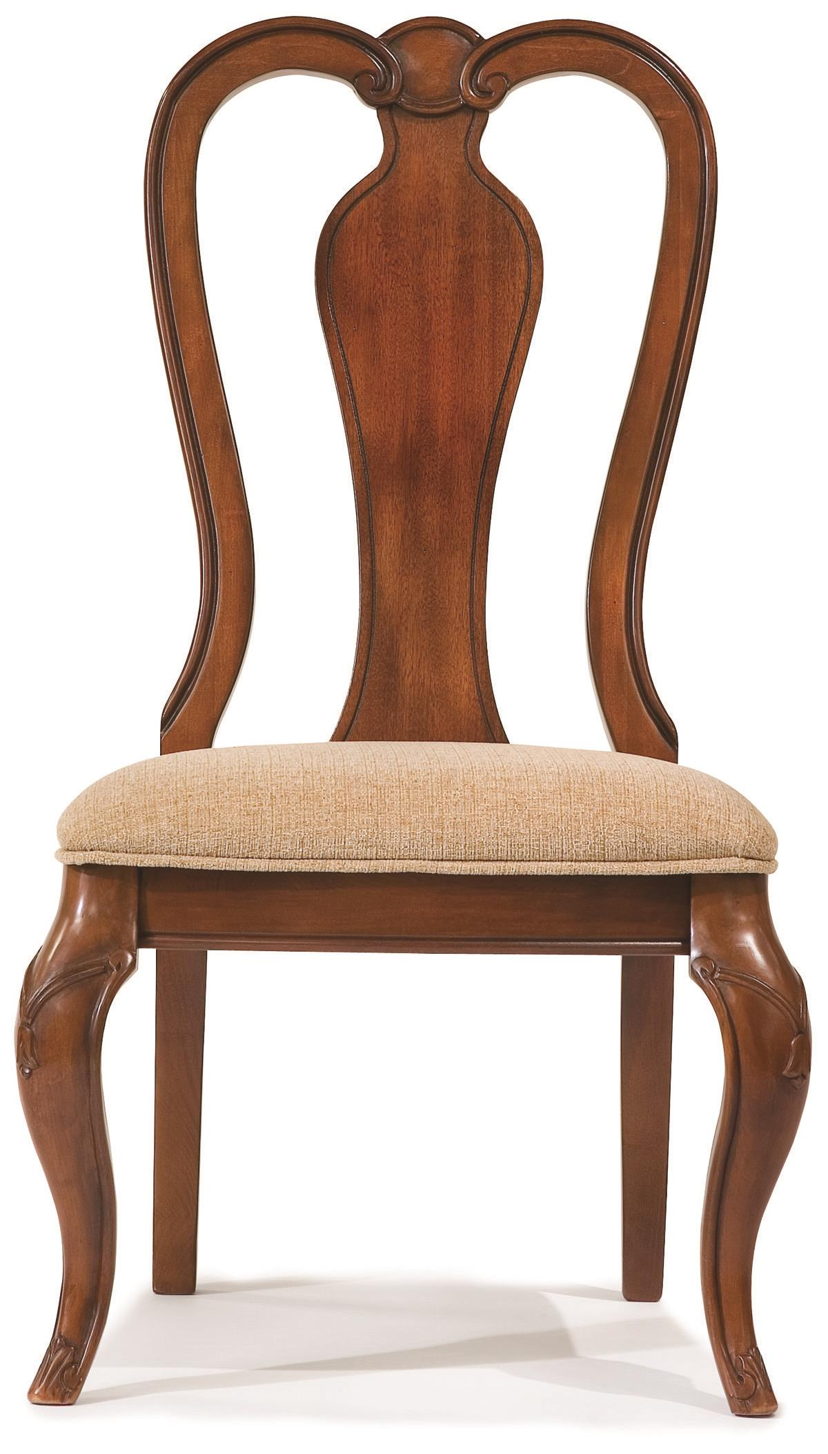 Queen anne side chair with upholstered seat by legacy for Queen anne furniture