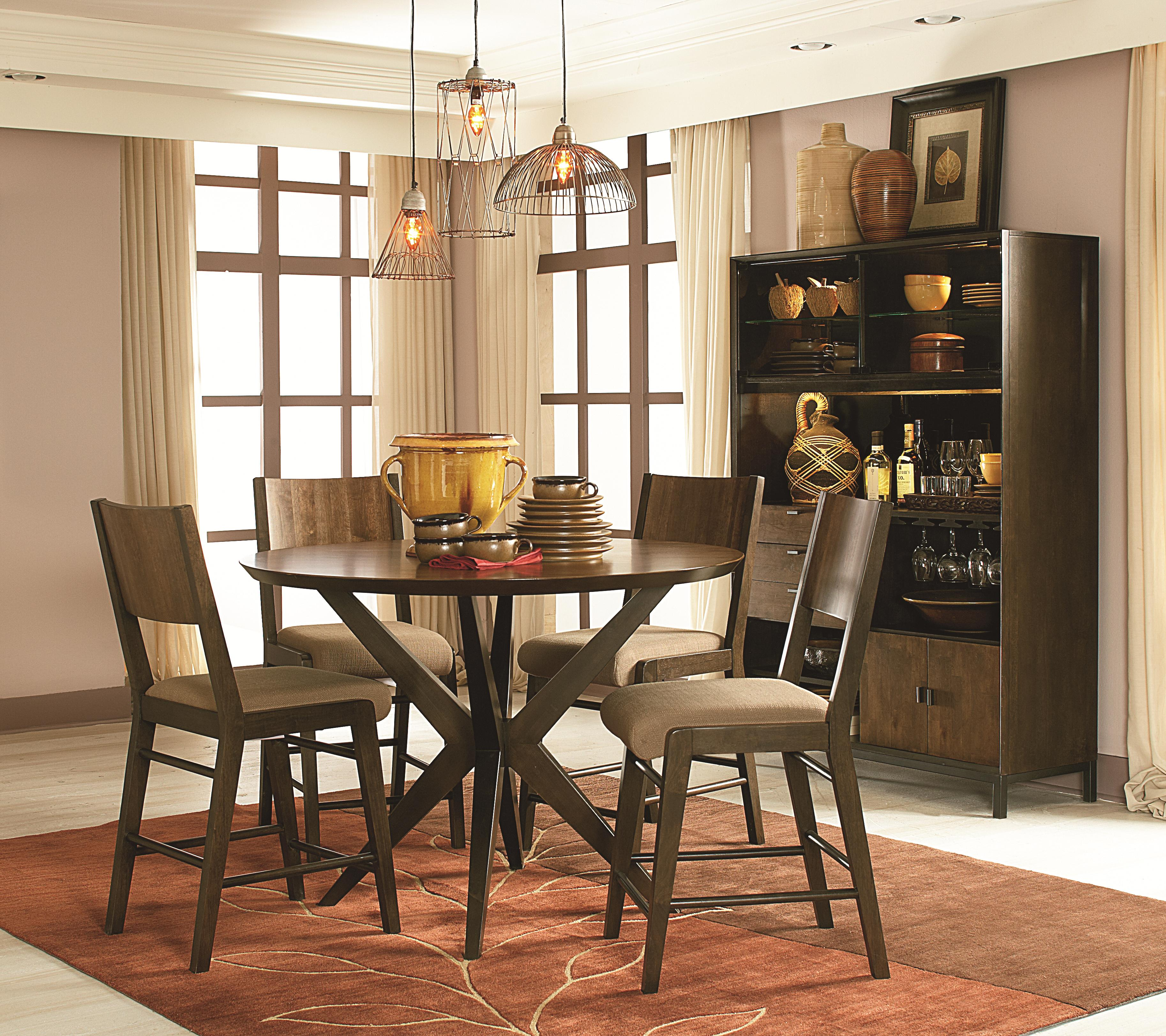 Round pub table in hazelnut finish by legacy classic for Round pub table and chairs