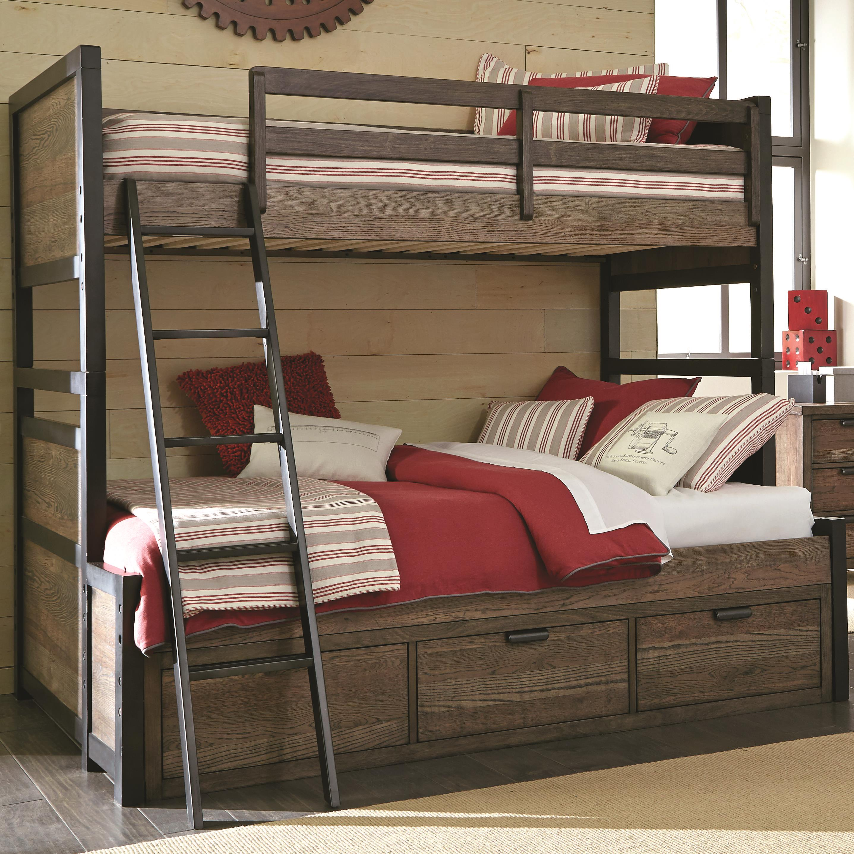 twin over full bunk bed with 3 storage drawers by legacy classic kids wolf and gardiner wolf. Black Bedroom Furniture Sets. Home Design Ideas