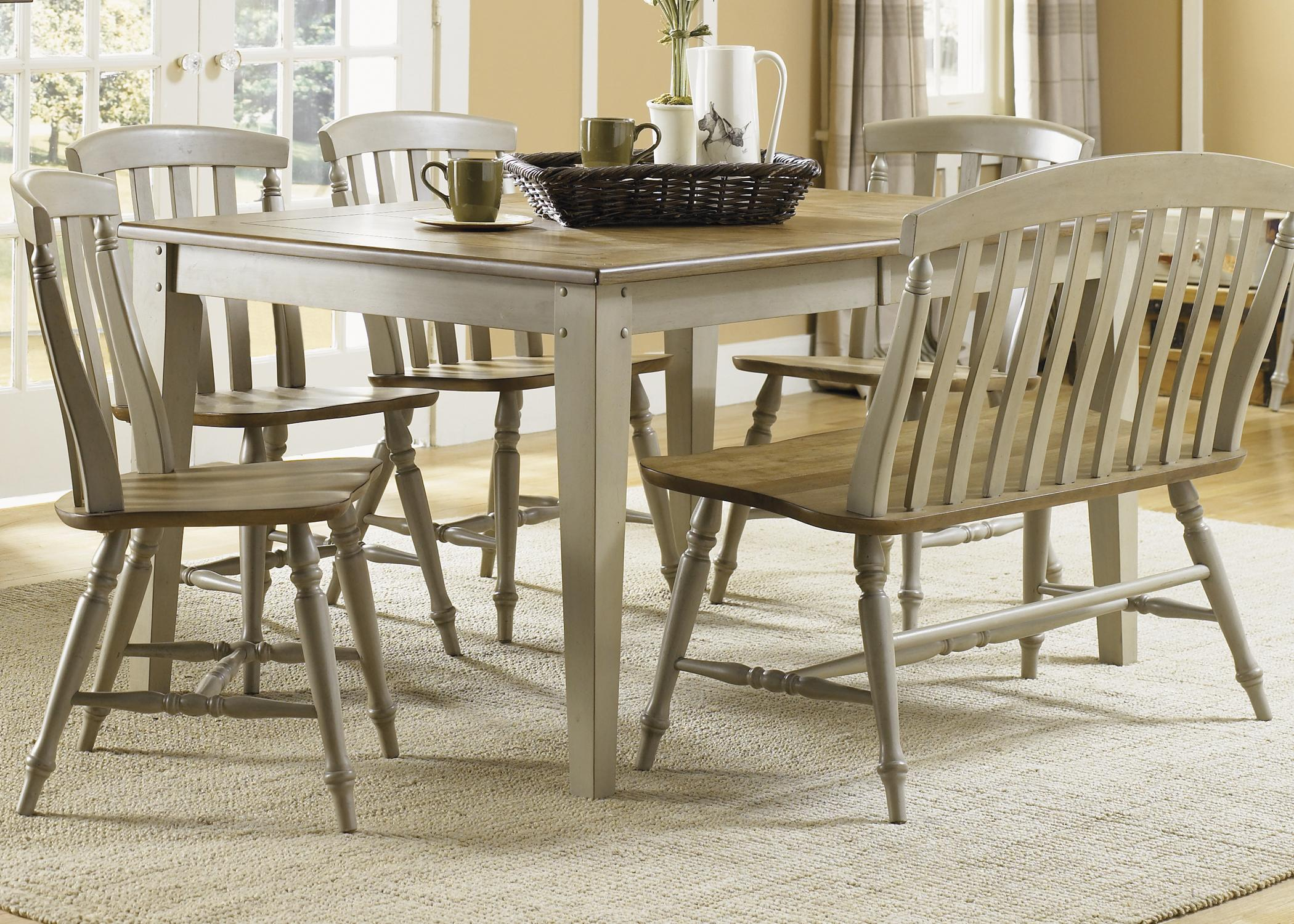 six piece dining table set with chairs and bench by liberty furniture wolf and gardiner wolf. Black Bedroom Furniture Sets. Home Design Ideas