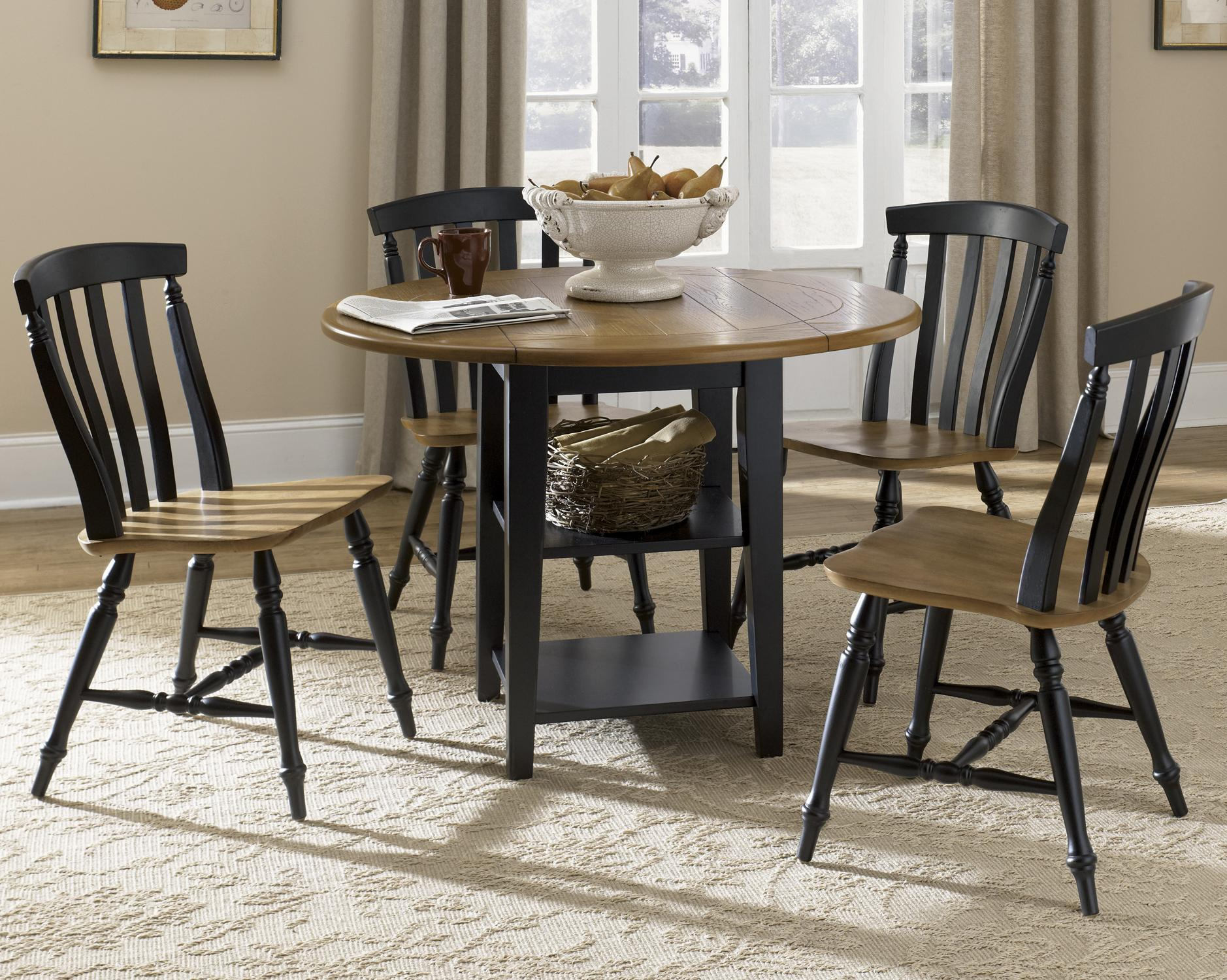 five piece drop leaf table and slat back chairs set by. Black Bedroom Furniture Sets. Home Design Ideas