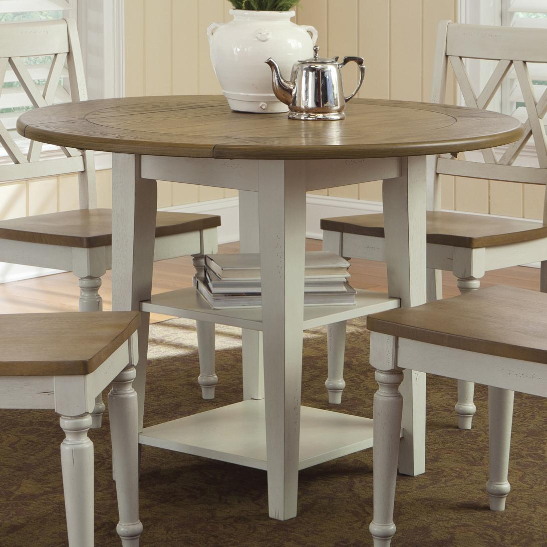 Round drop leaf dining leg table by liberty furniture for Round drop leaf dining table