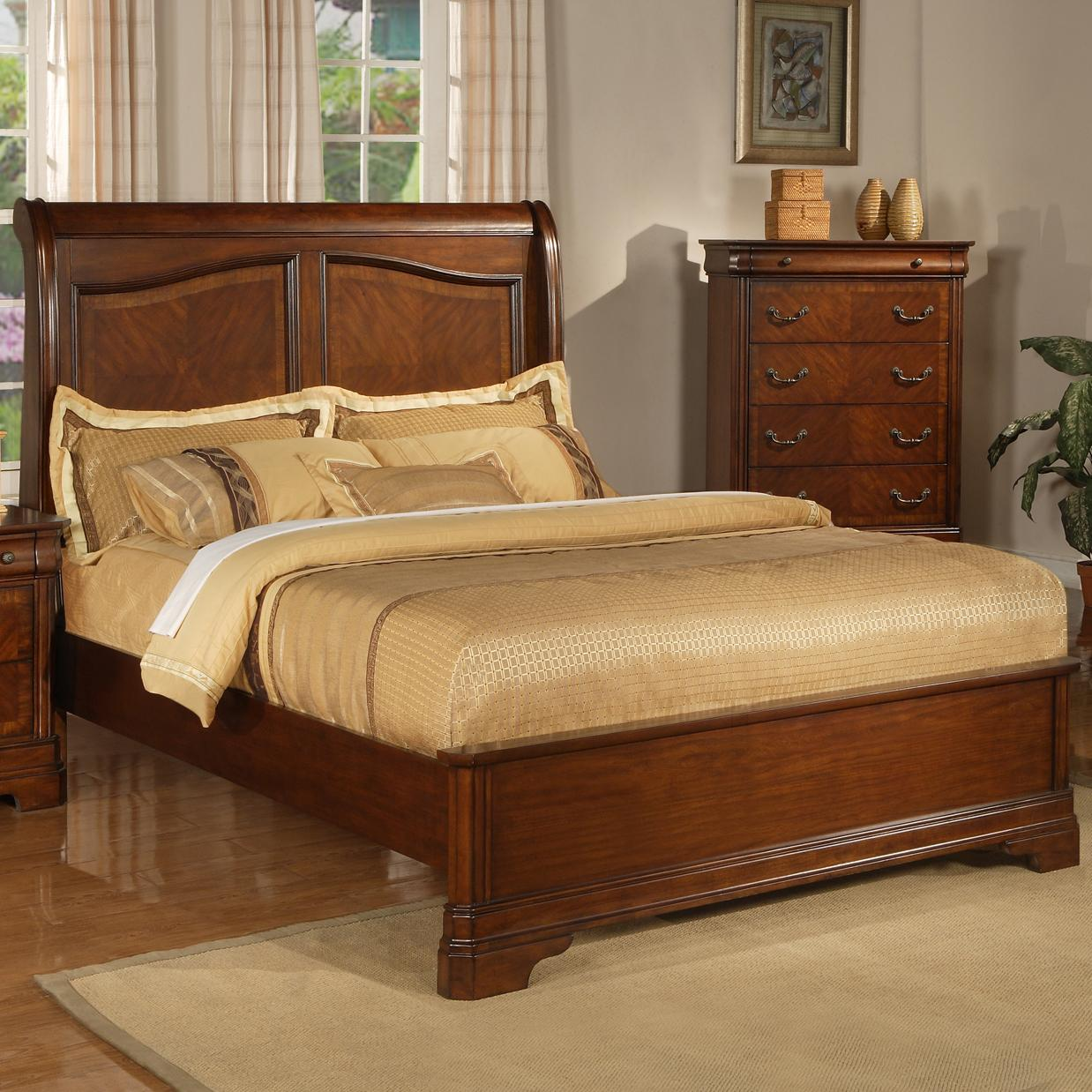 King sleigh bed with low profile footboard by liberty for King size footboard