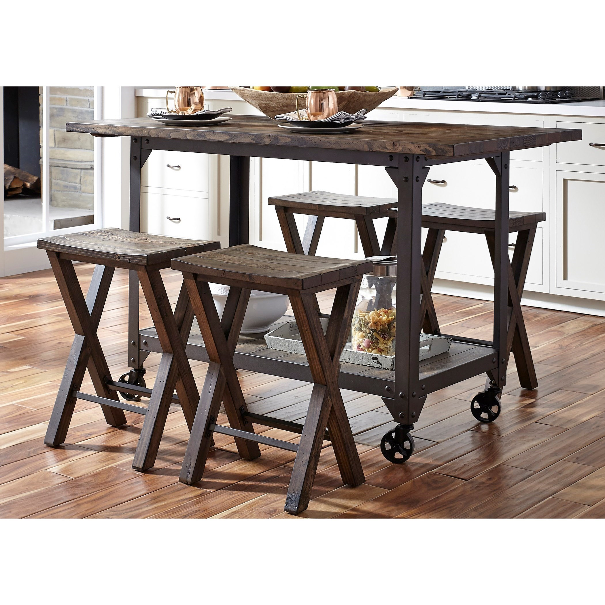 Industrial kitchen island and counter height stool set by for Kitchen set industrial