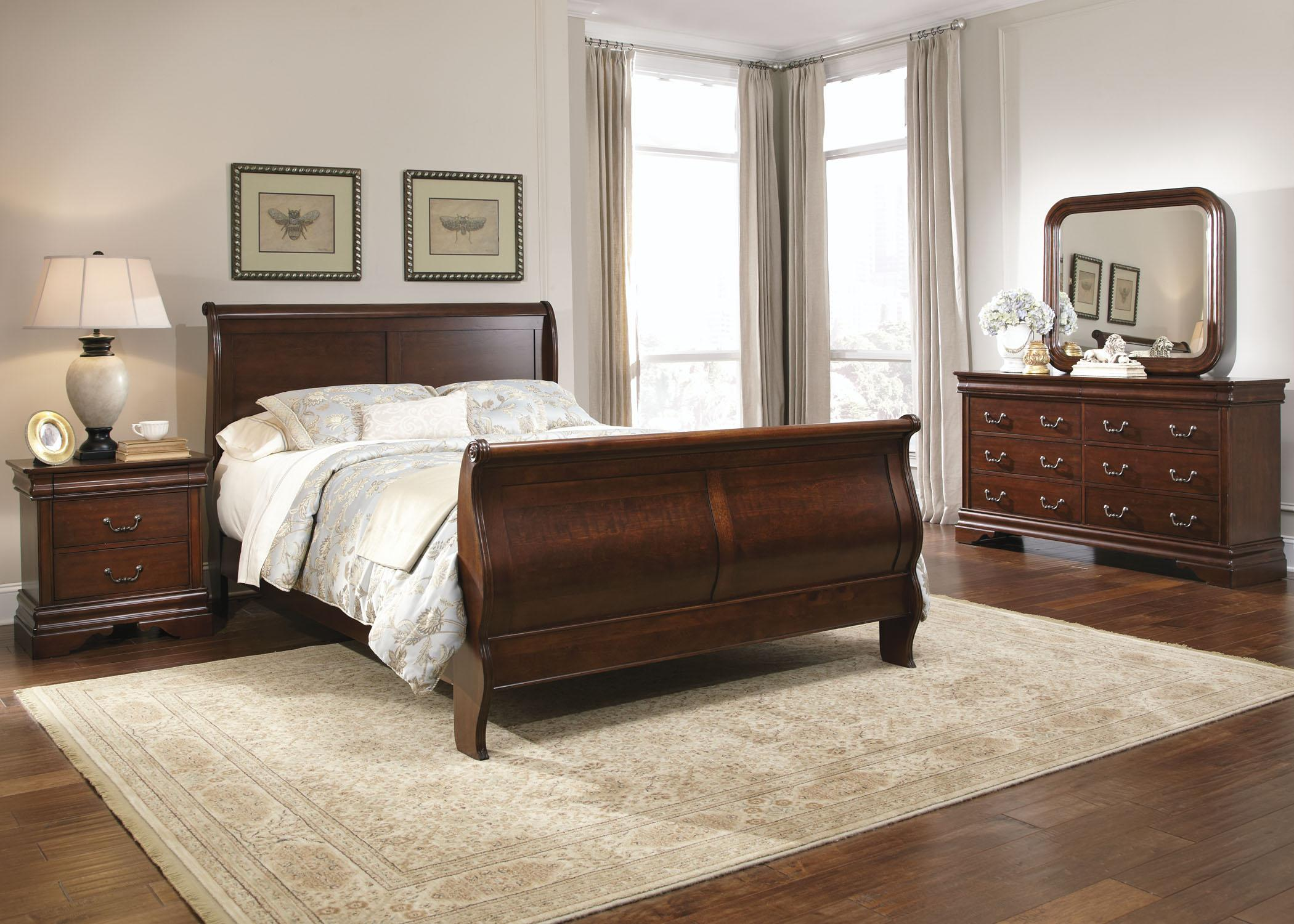 queen sleigh bed dresser mirror by liberty furniture wolf and gardiner wolf furniture. Black Bedroom Furniture Sets. Home Design Ideas