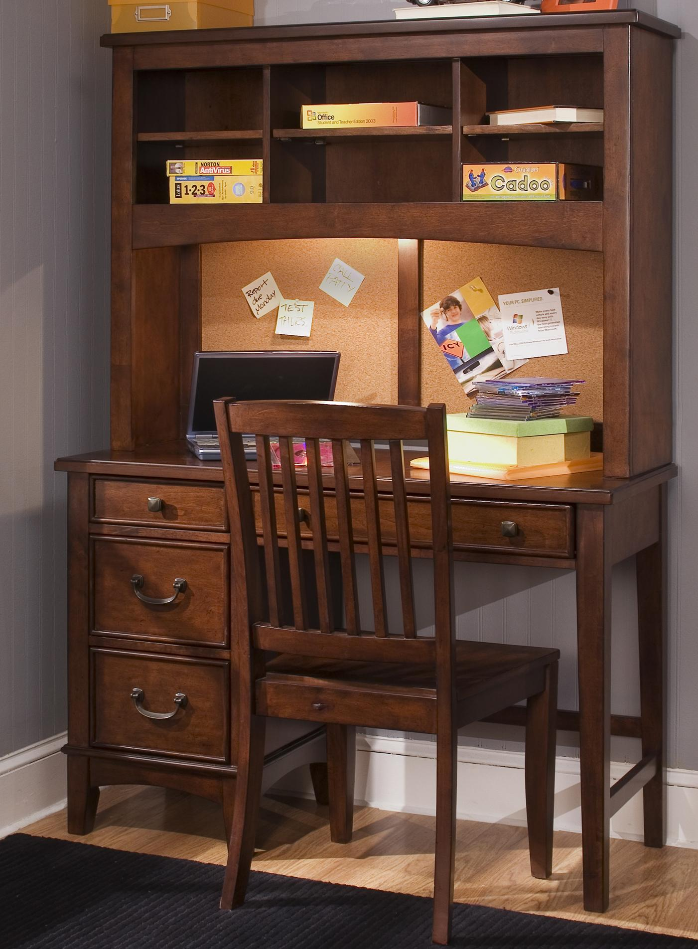 single pedestal student desk with hutch by liberty furniture wolf and gardiner wolf furniture. Black Bedroom Furniture Sets. Home Design Ideas