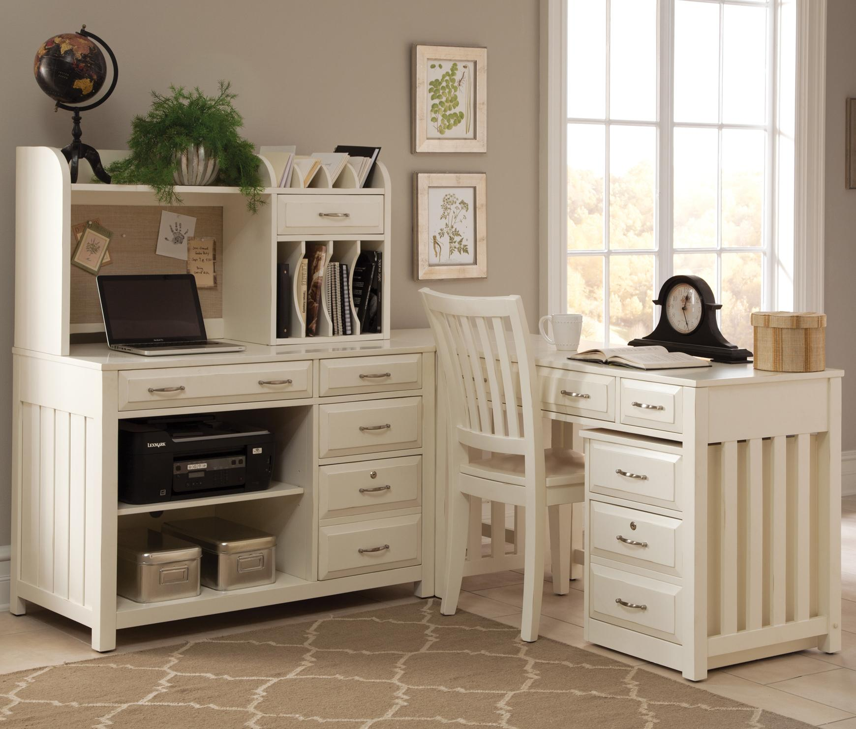 Fabulous 5 Piece L-Shaped Desk and File Cabinet Unit by Liberty Furniture  RM12