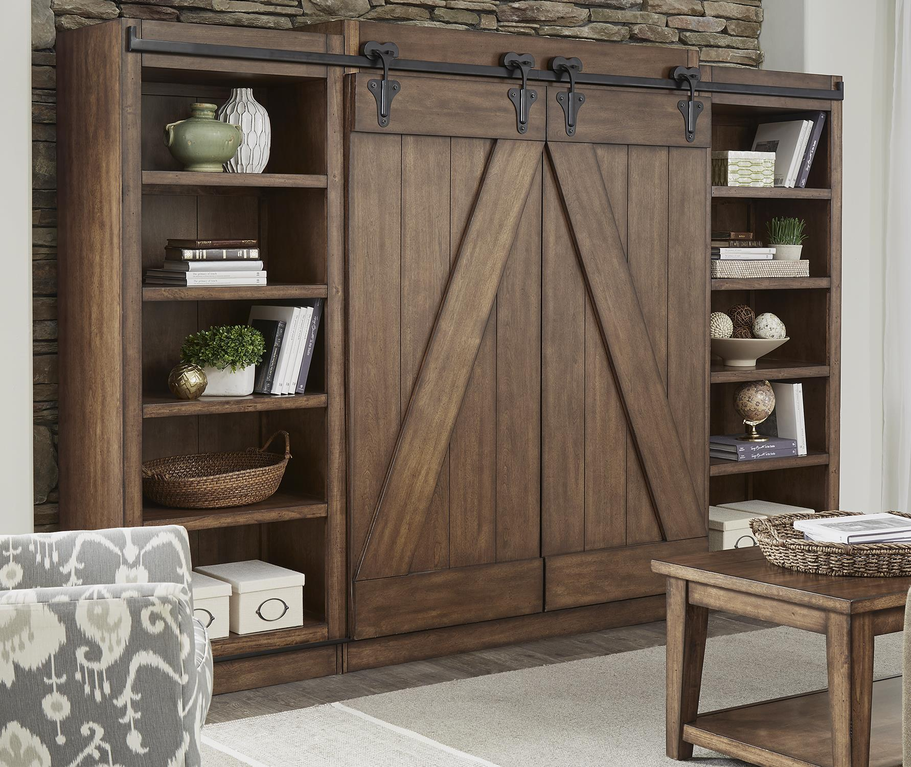entertainment center with piers and sliding barn doors by liberty furniture wolf and gardiner. Black Bedroom Furniture Sets. Home Design Ideas