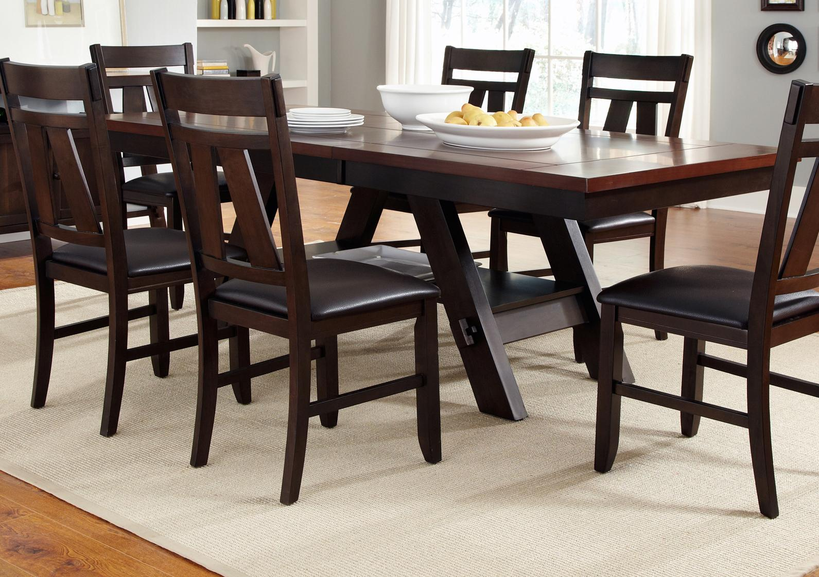 Trestle rectangular dining table by liberty furniture for Rectangle kitchen table with bench