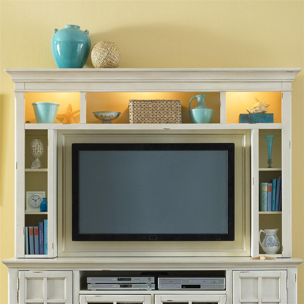 Very Painted Entertainment Center with Flat Screen TV Mounting Area by  OY52