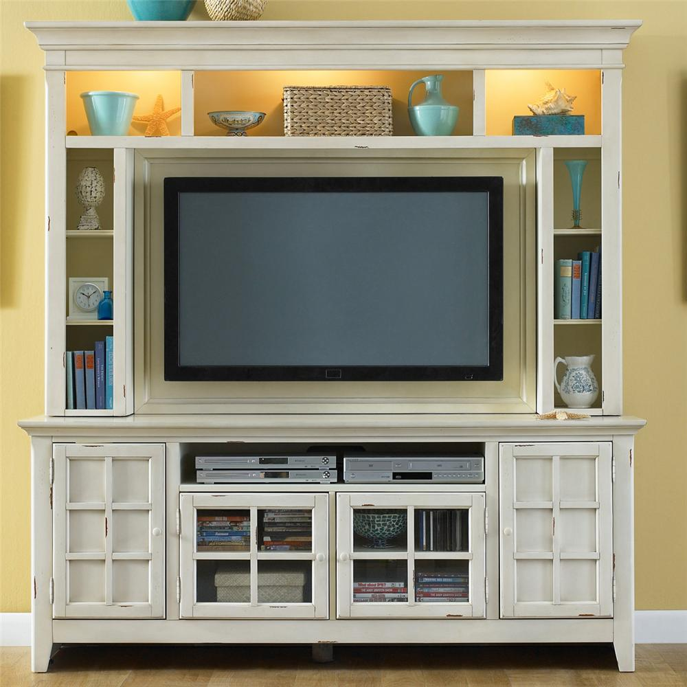 Painted Entertainment Center With Flat Screen Tv Mounting