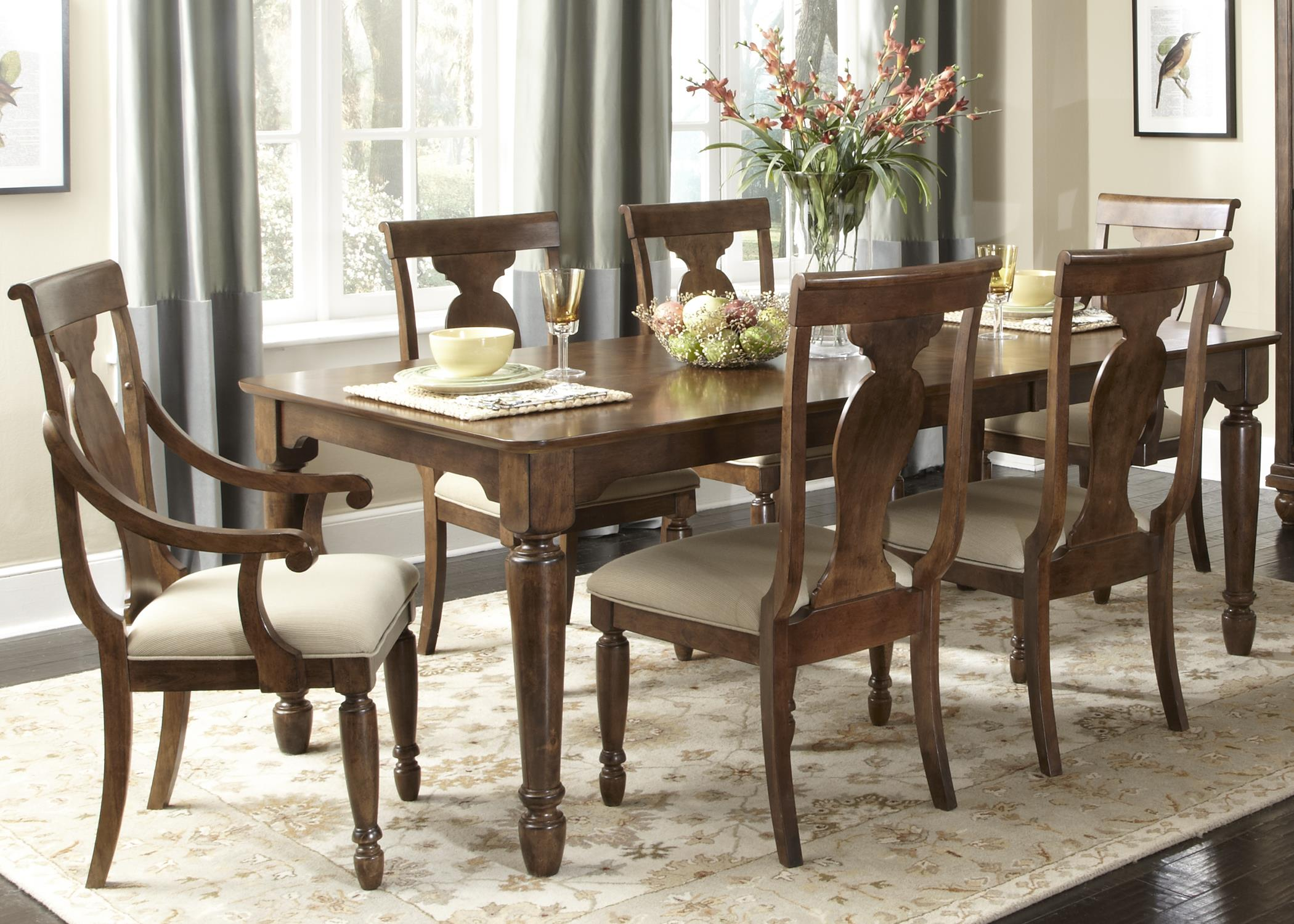 Rectangular leg dining table with leaf by liberty for Rectangular dining room tables with leaves