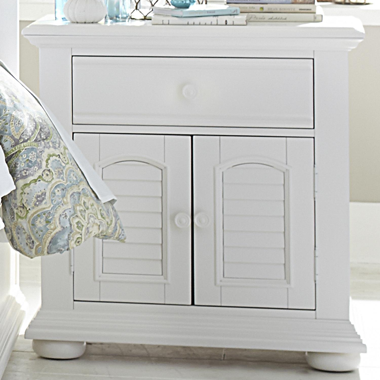 louvered 2 door 1 drawer night stand by liberty furniture. Black Bedroom Furniture Sets. Home Design Ideas