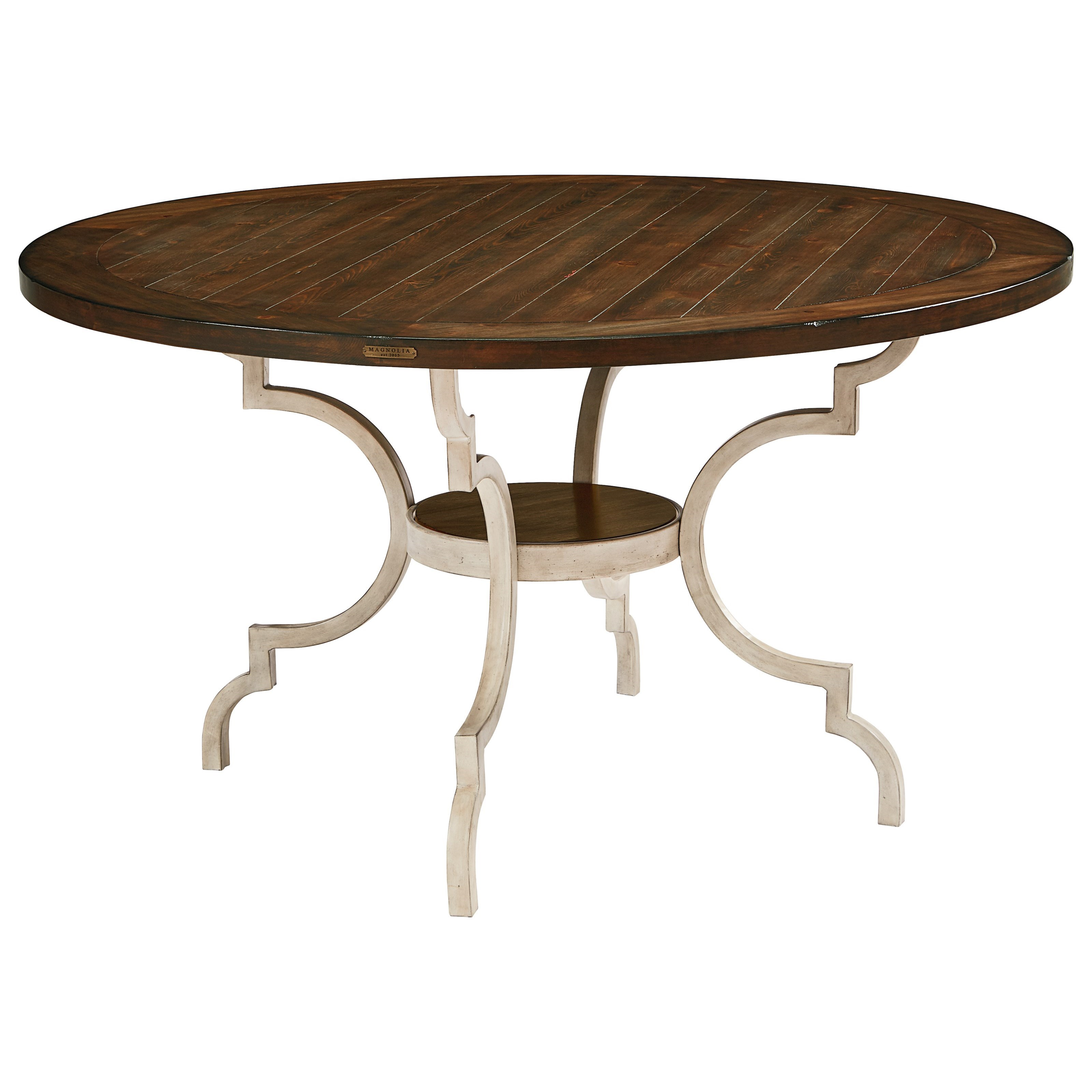 Breakfast table wood top w metal base by magnolia home for Magnolia dining table