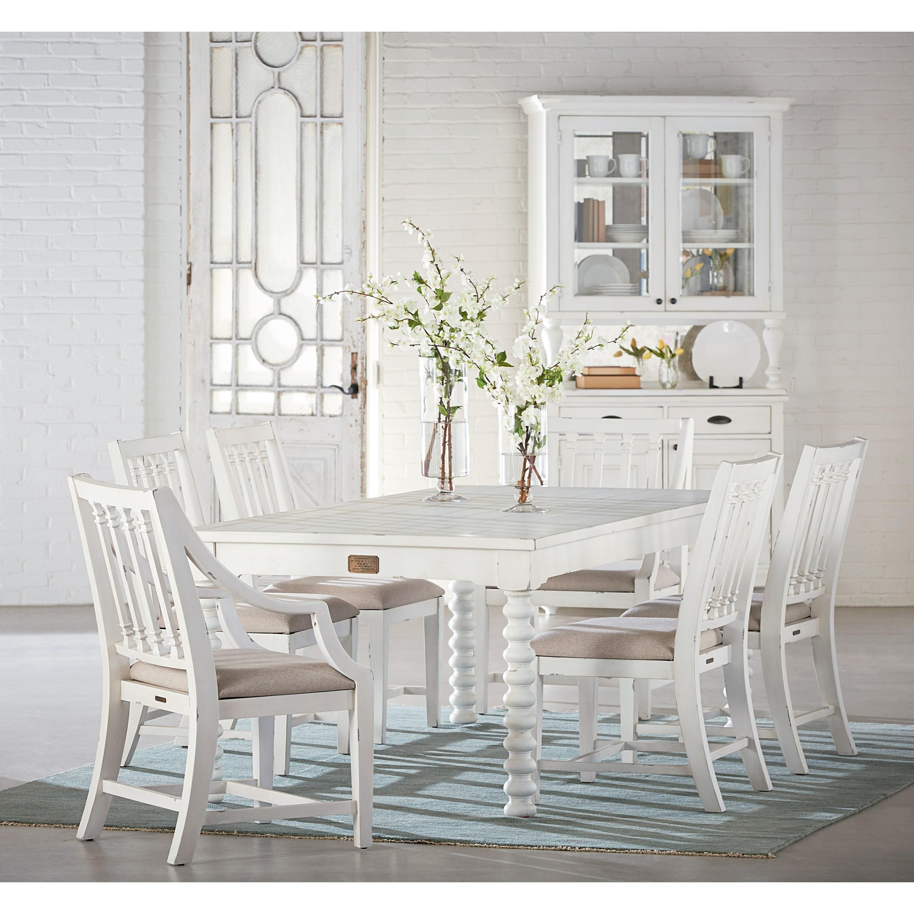 Dining room table with spool legs by magnolia home by for Magnolia dining table