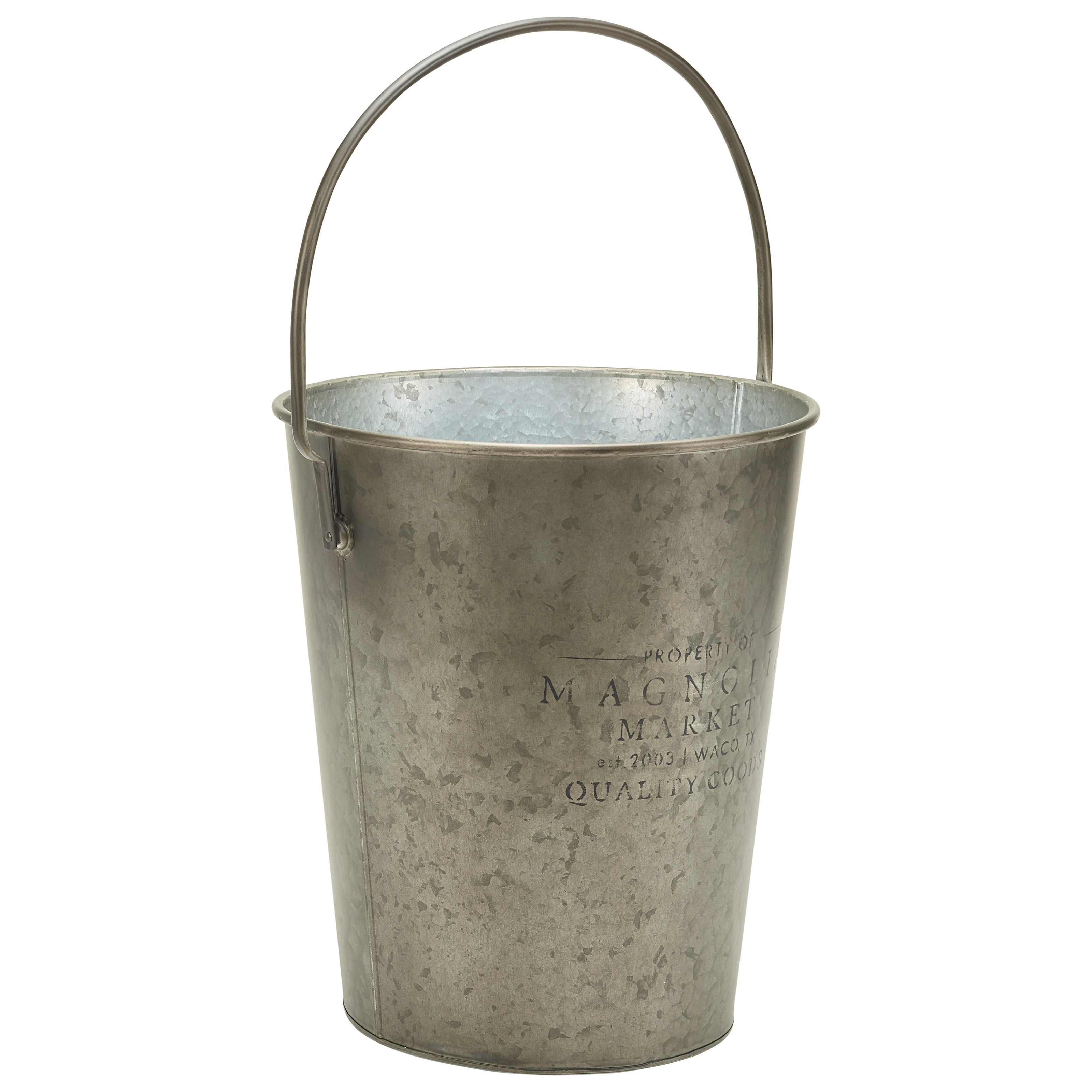 Small metal milk bucket with wire bail handle by magnolia for Tiny metal buckets