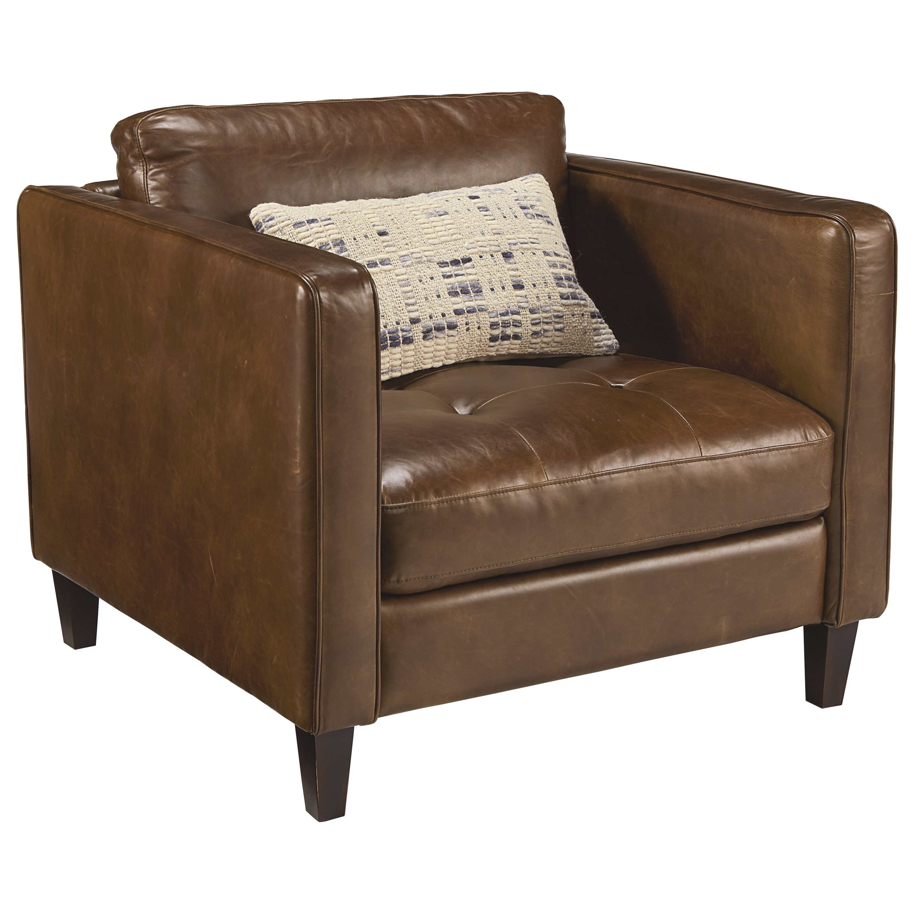 Upholstered chair and ottoman with button tufting by for Chair ottoman