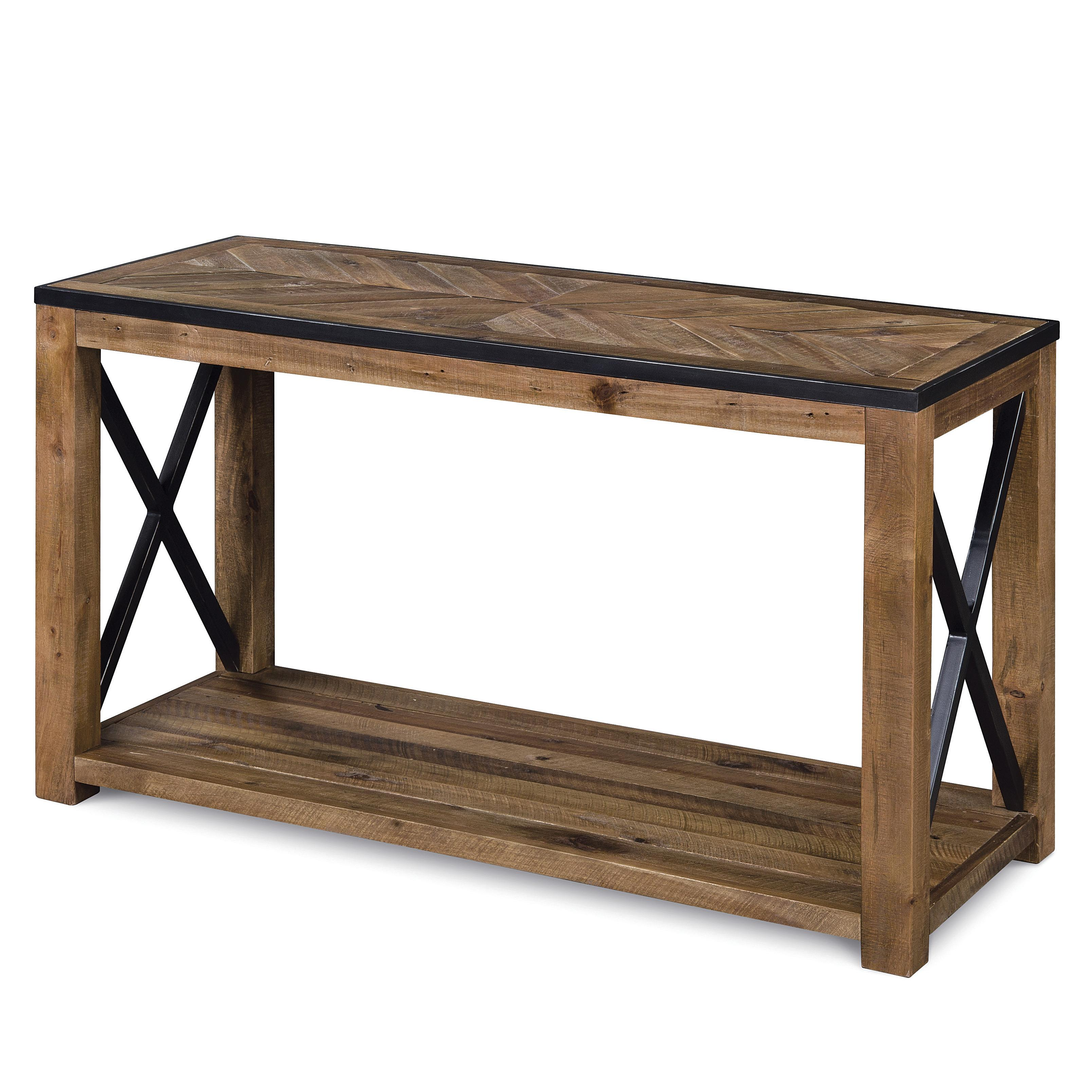 Rectangular sofa table with x cross stretchers by for Sofa table 50 inches