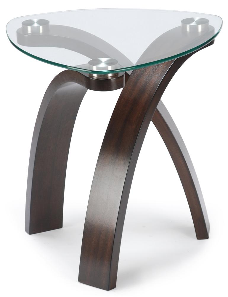 end table with glass top and bent wood legs by magnussen home wolf and gardiner wolf furniture. Black Bedroom Furniture Sets. Home Design Ideas