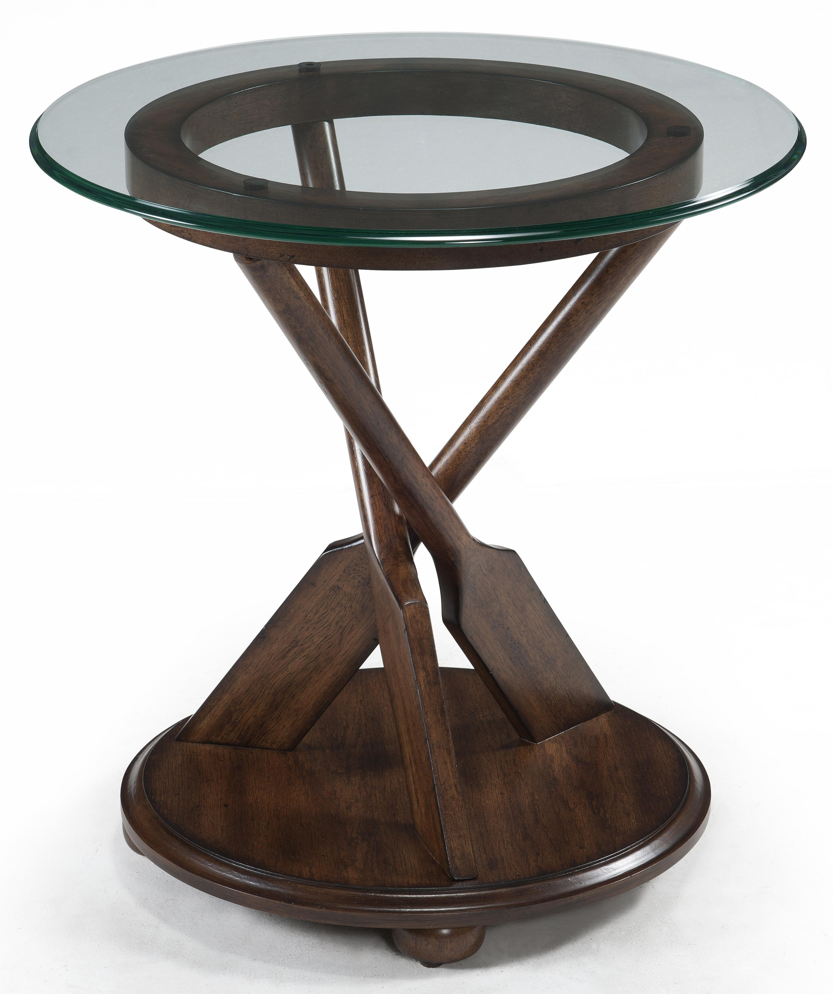 Round end table with three oar pedestal and tempered glass for Nautical coffee table